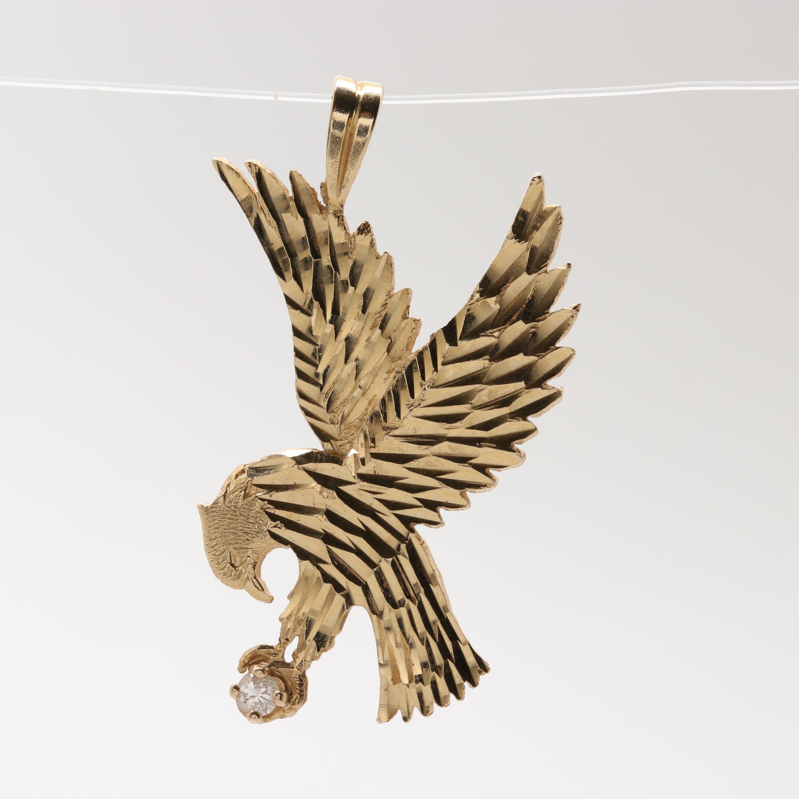 14K Yellow Gold Diamond Eagle Pendant