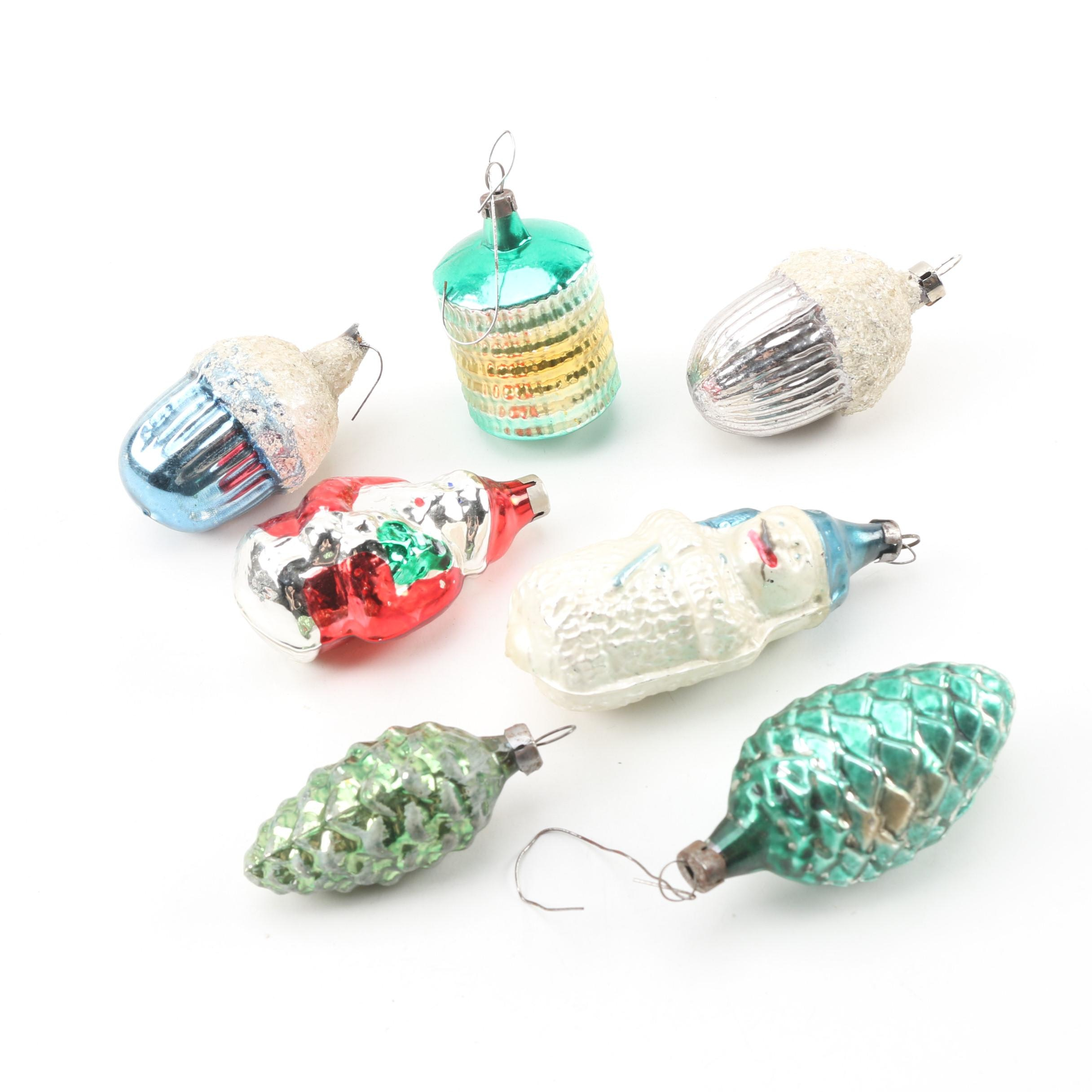 Czechoslovakian Blown Glass Christmas Ornaments, Mid-Century