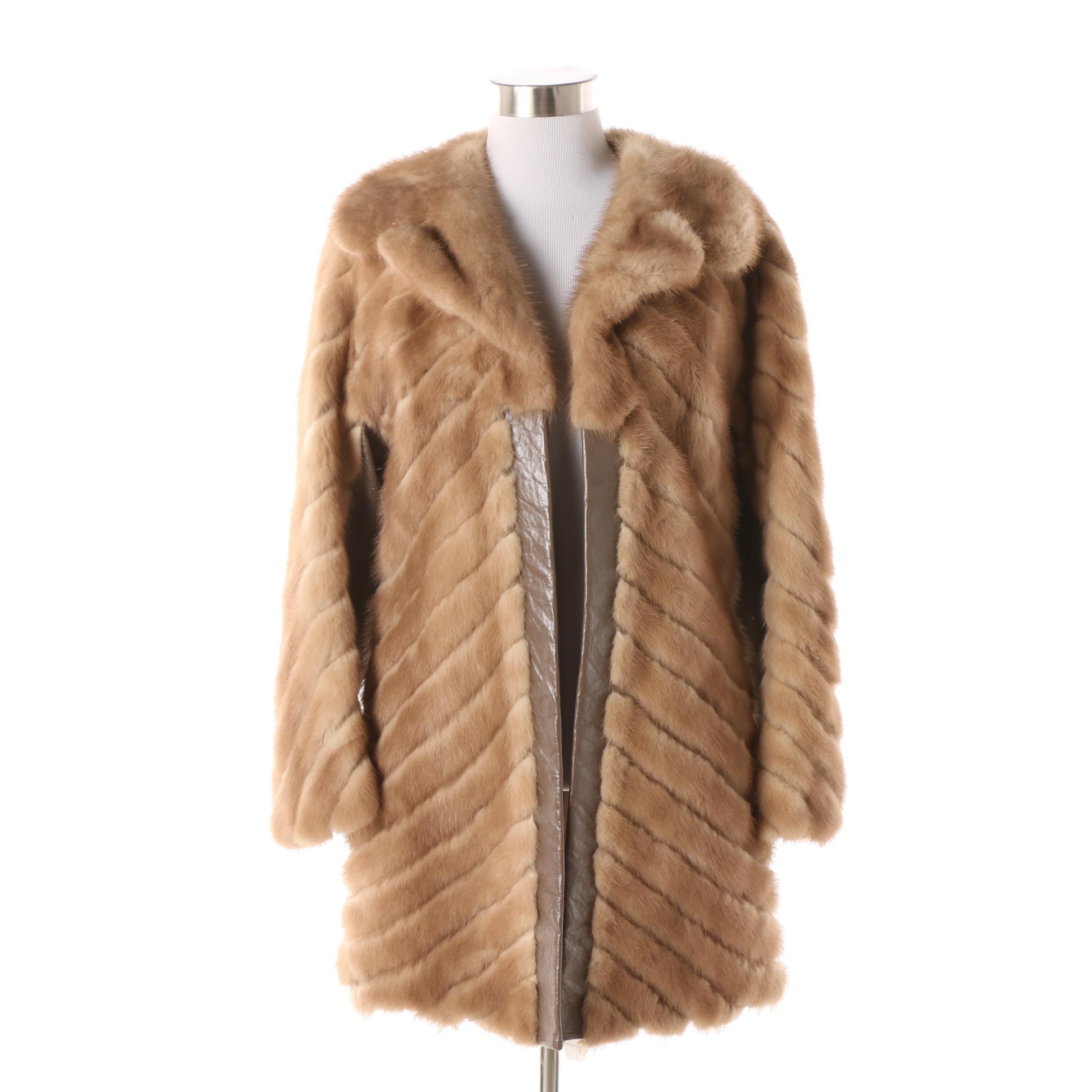 Women's 1970s Vintage Mink Fur Coat with Leather Trim
