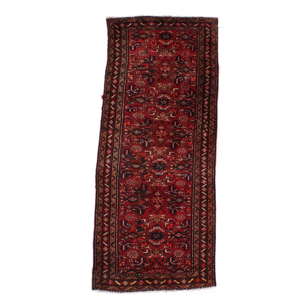 Semi-Antique Hand-Knotted Persian Heriz Karajeh Runner