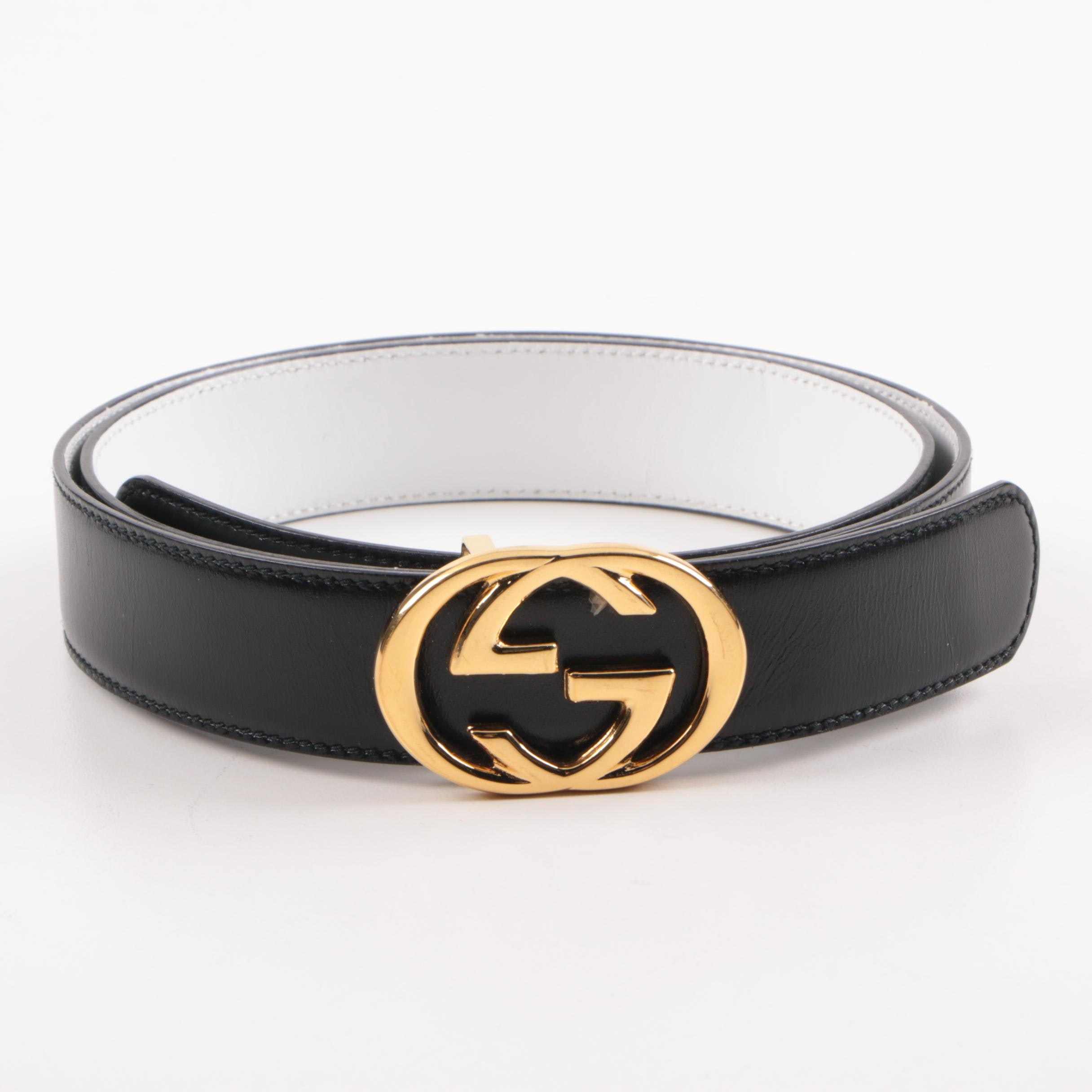 Gucci Black Leather Belt with Interlocking GG Buckle