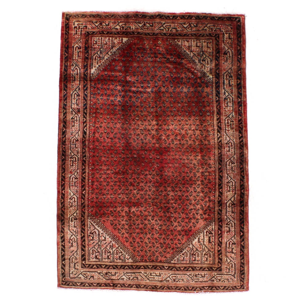 Semi-Antique Hand-Knotted Persian Mir Seraband Rug