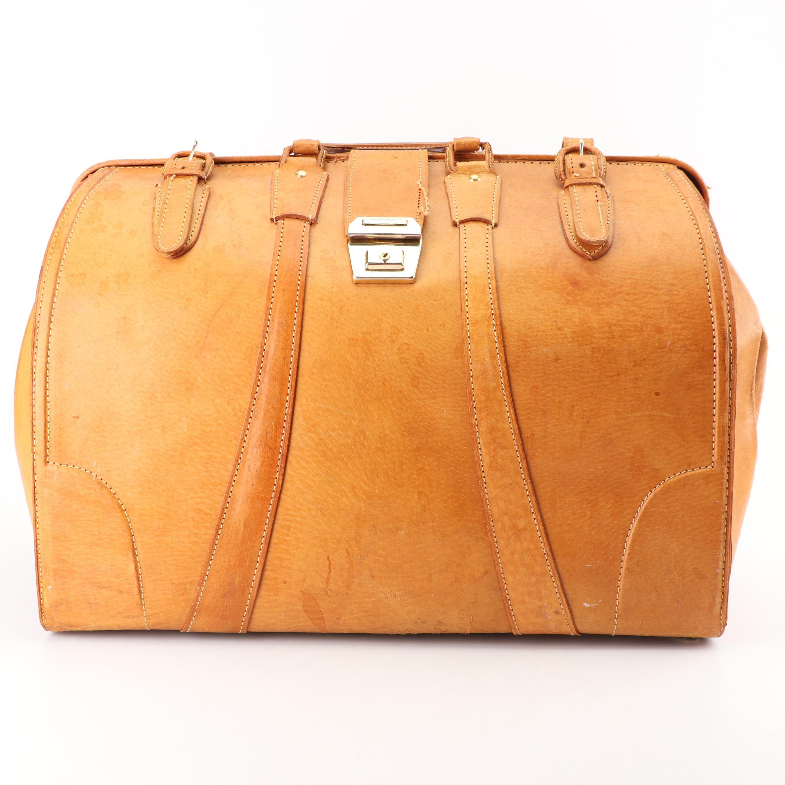 1950s Vintage Golden Leaf of Shanghai, China Tan Pigskin Leather Doctor's Bag