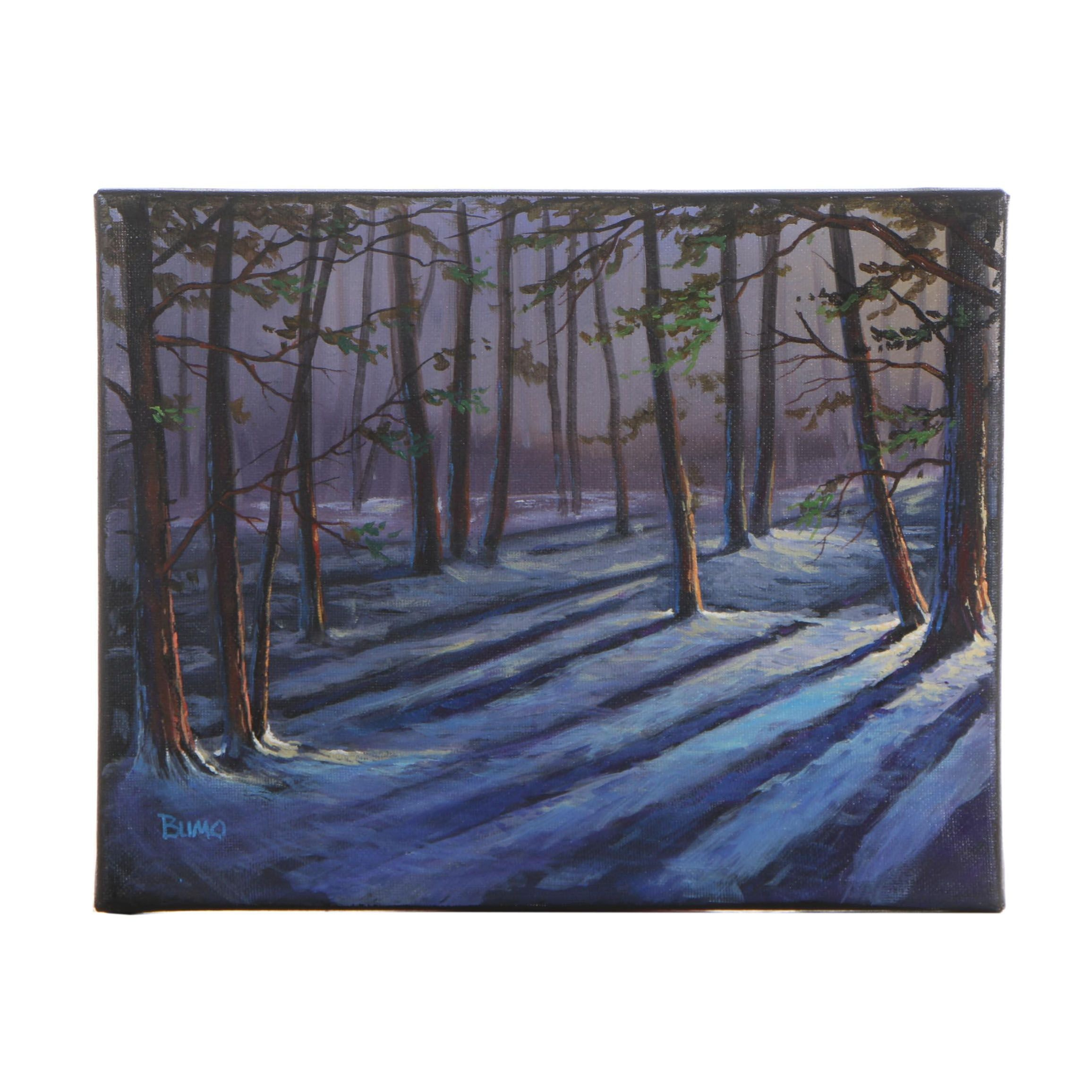 "Douglas ""Bumo"" Johnpeer Oil Painting ""Forest Shadows"""
