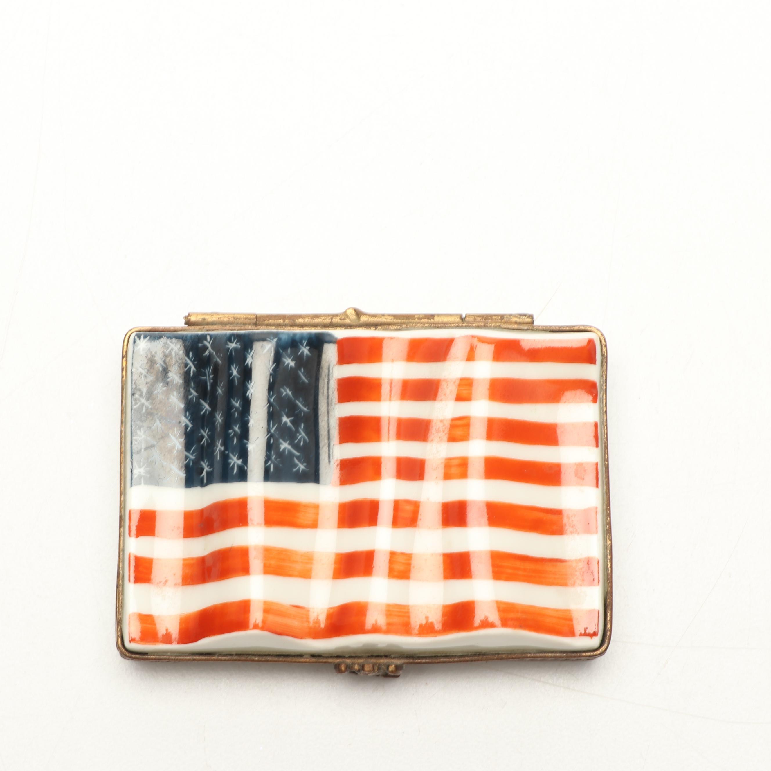 Chamart Limoges France Porcelain American Flag Trinket Box with Eagle Clasp