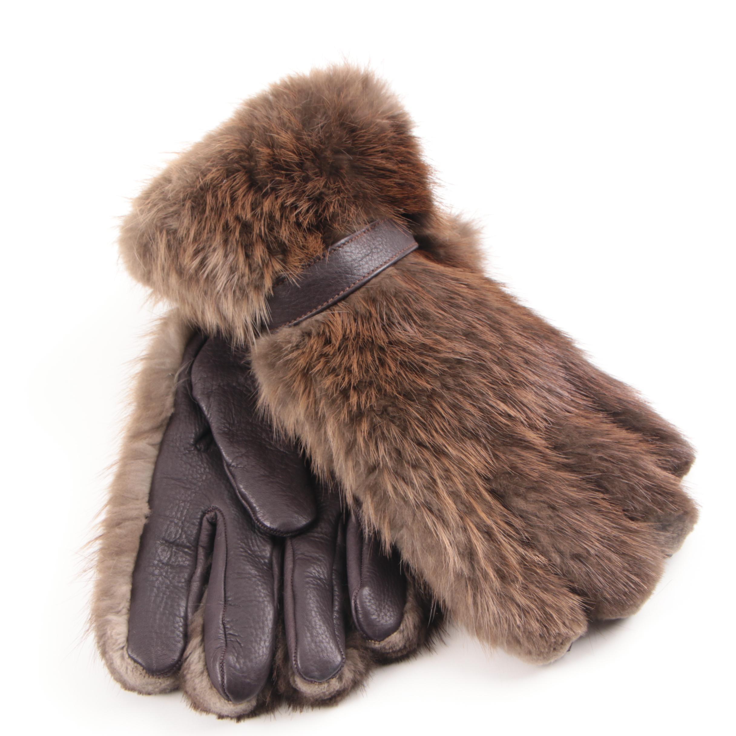 Men's Neiman Marcus Muskrat Fur and Deerskin Gloves