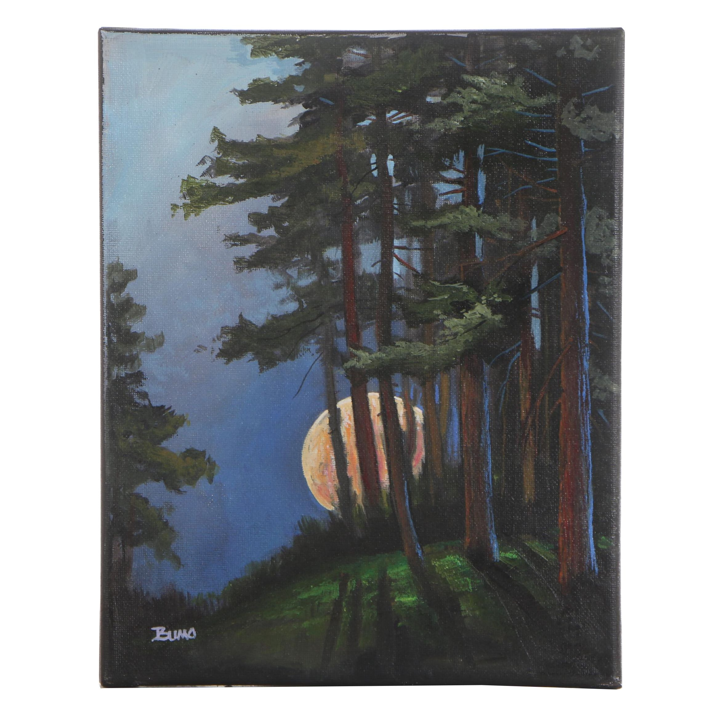 "Douglas ""Bumo"" Johnpeer Oil Painting ""Forest Moon"""
