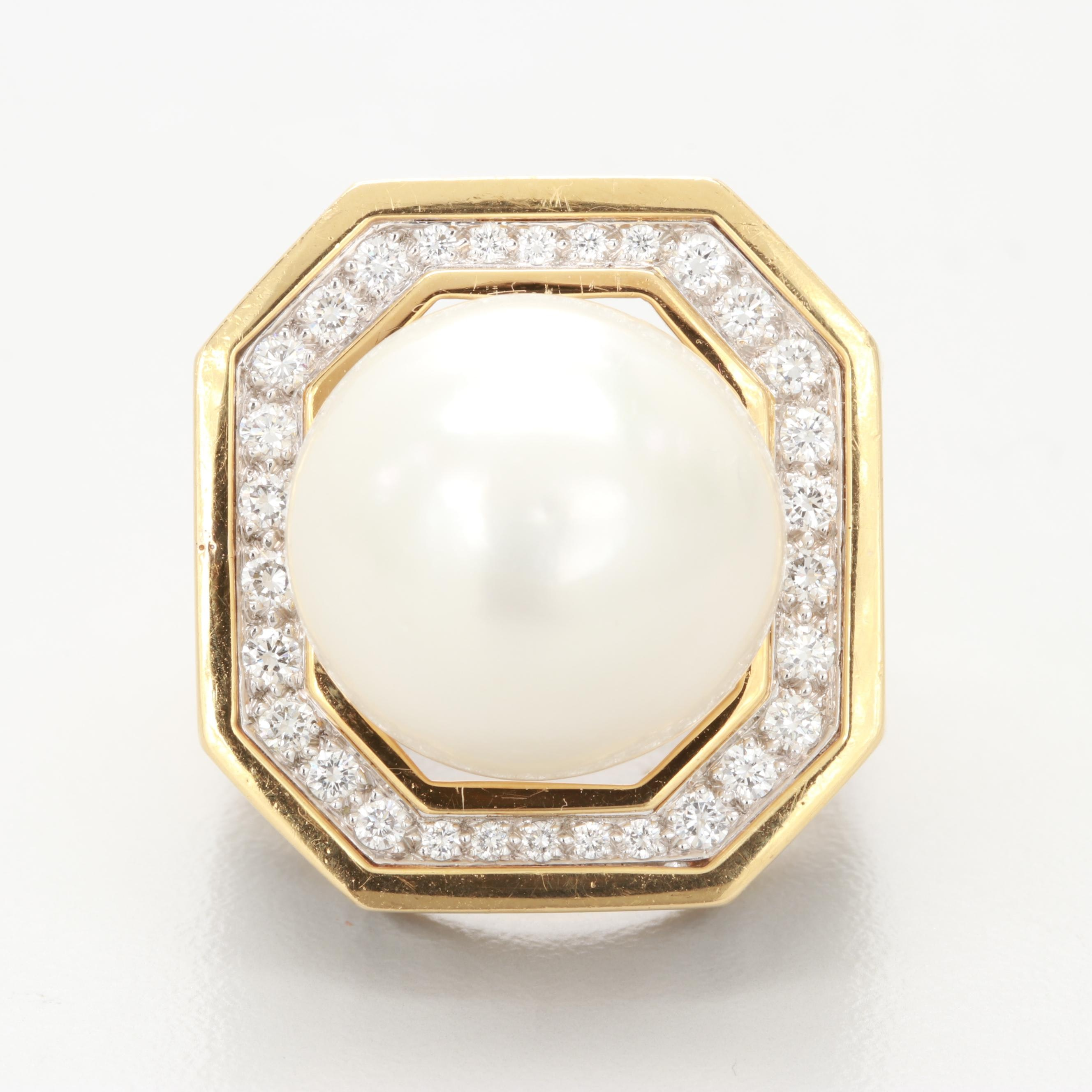 David Webb 18K Yellow Gold and Platinum Cultured Pearl and 5.00 CTW Diamond Ring