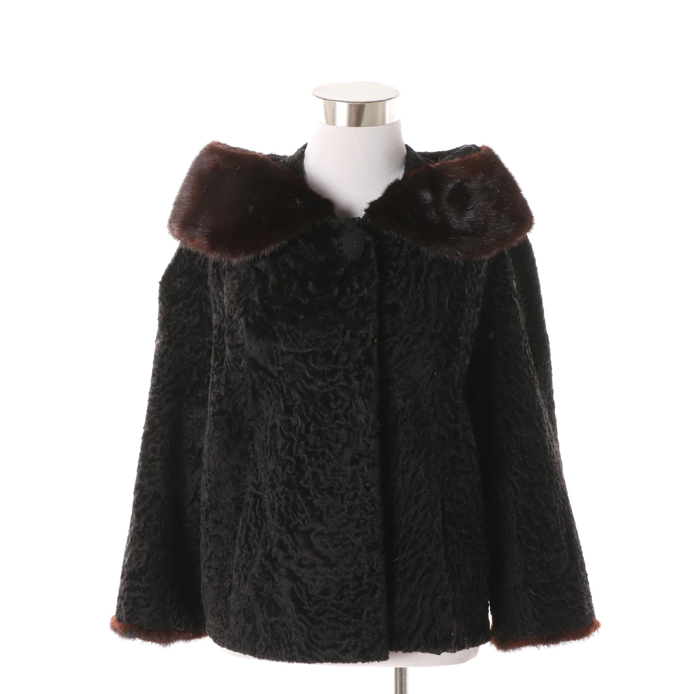 Women's Vintage Bullock's Persian Lamb Fur Coat with Mink Fur Trim