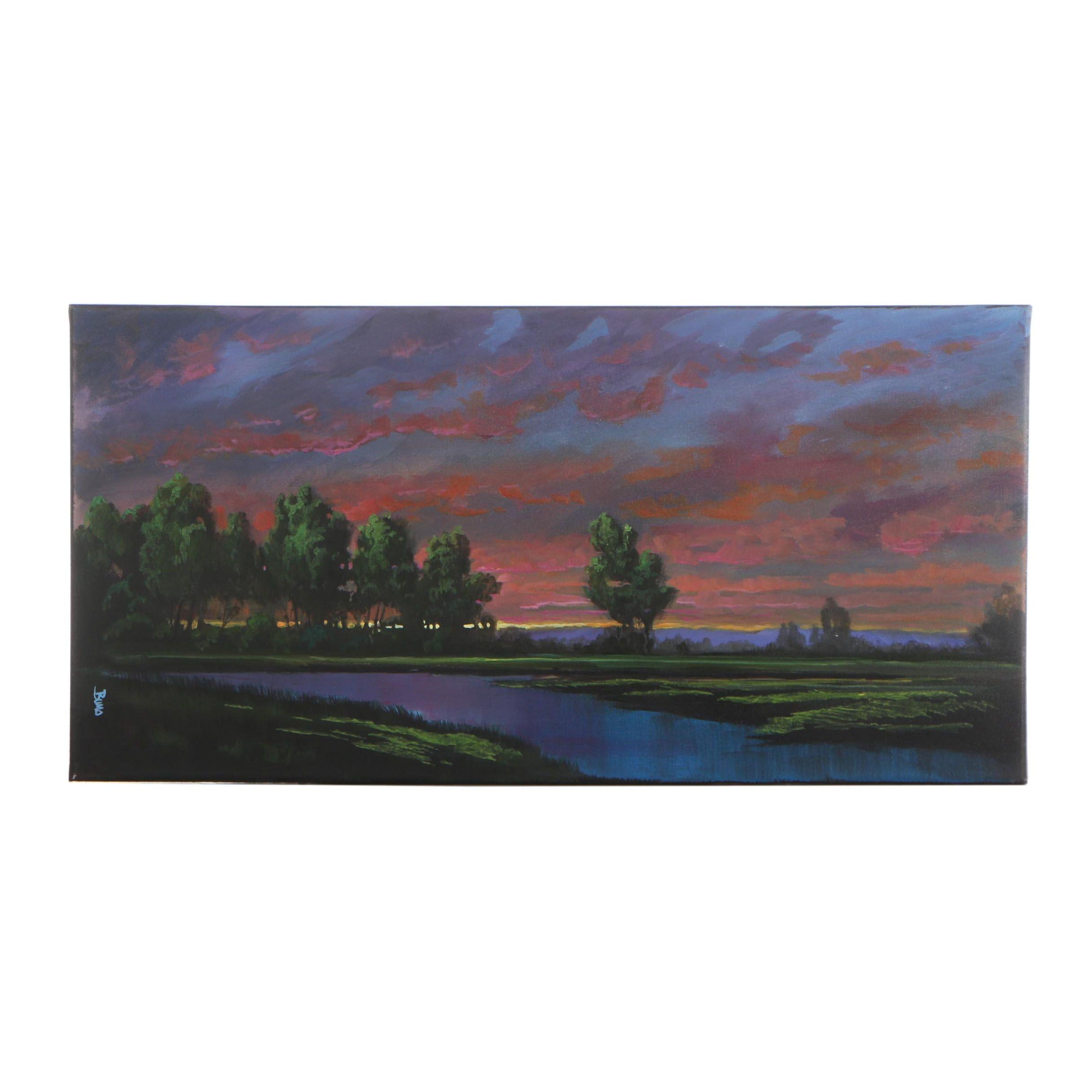 "Douglas ""Bumo"" Johnpeer Oil Painting ""Rivers Edge"""
