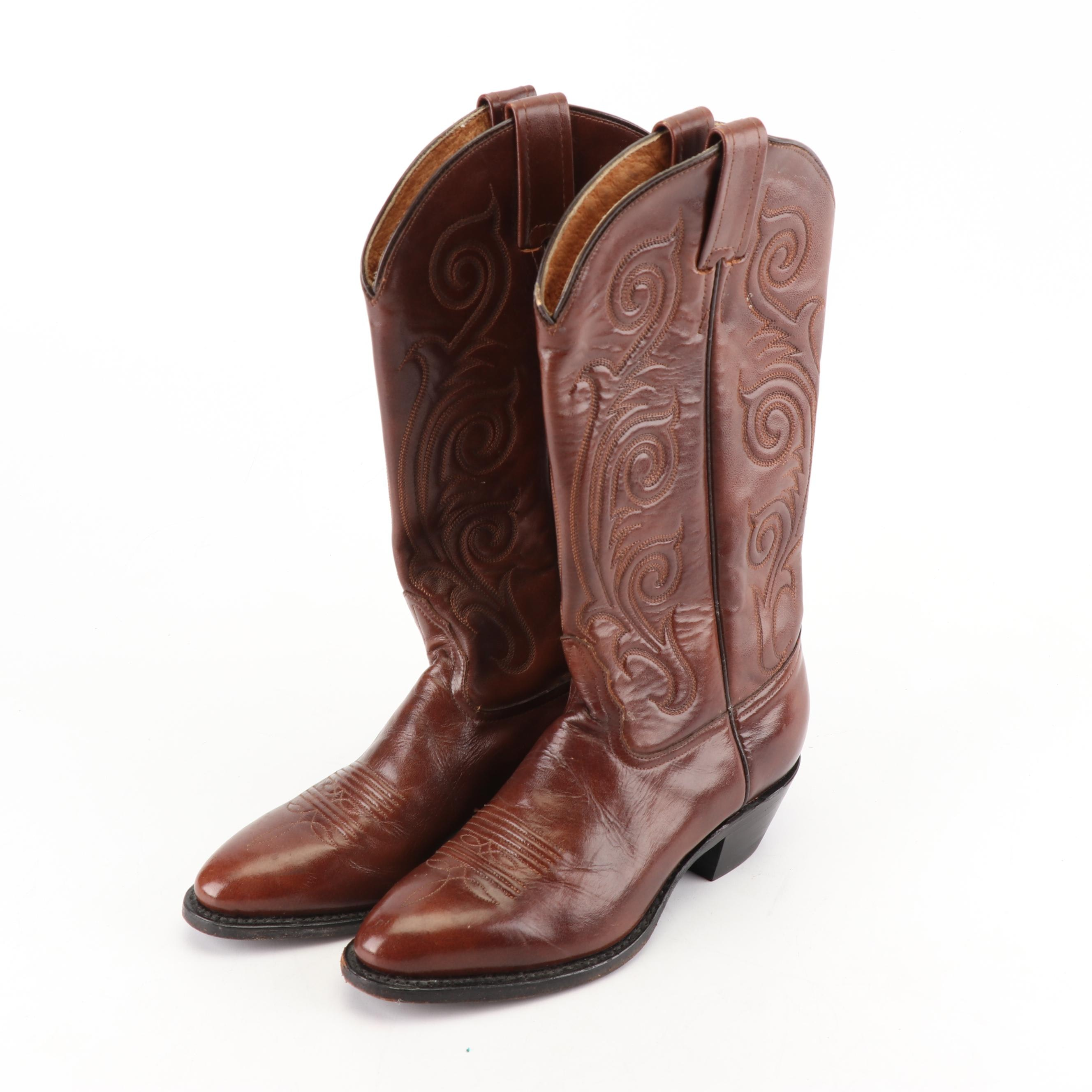 Women's Tony Lama of El Paso, Texas Brown Leather Western Boots
