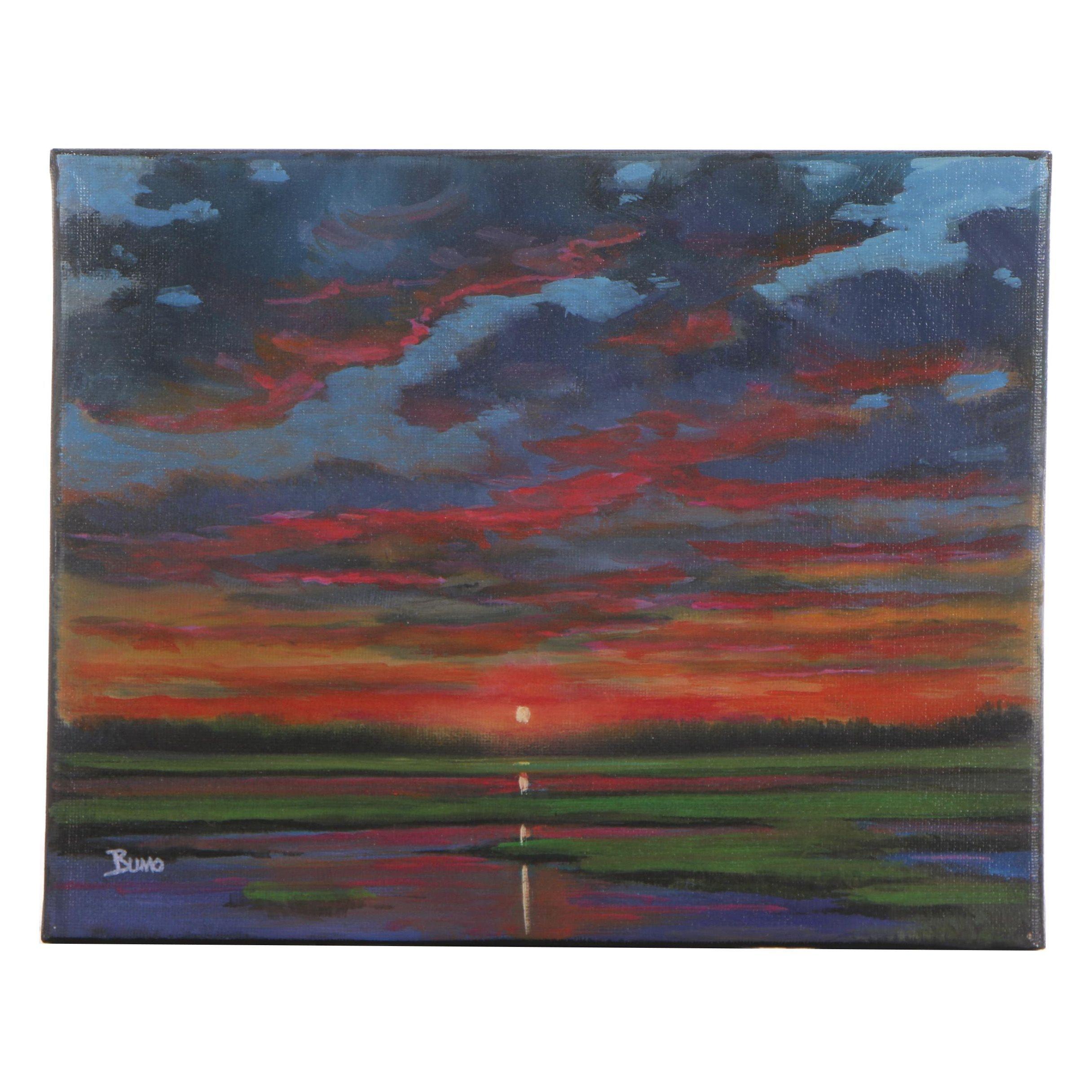 "Douglas ""Bumo"" Johnpeer Oil Painting ""Marsh Reflections"""
