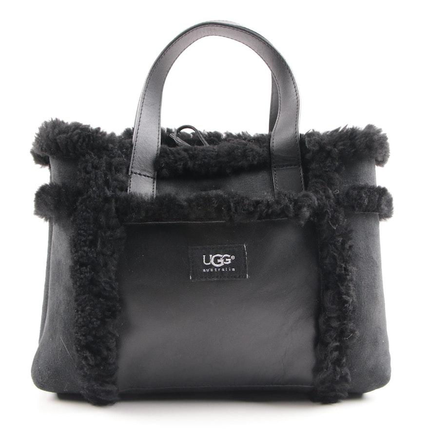 Ugg Australia Sundance Black Sheepskin And Leather Handbag