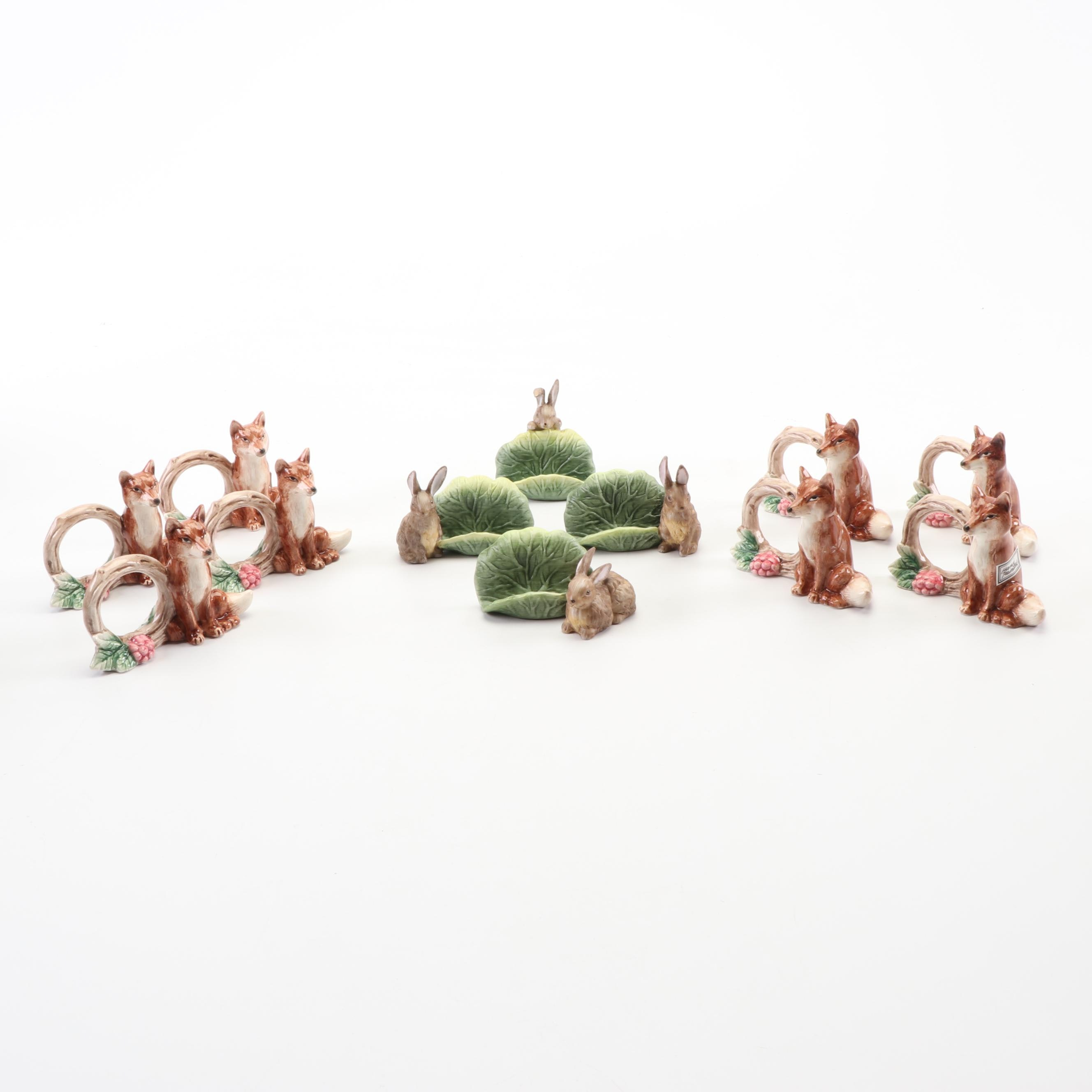 Fitz and Floyd Animal Themed Napkin Rings and Place Card Holders