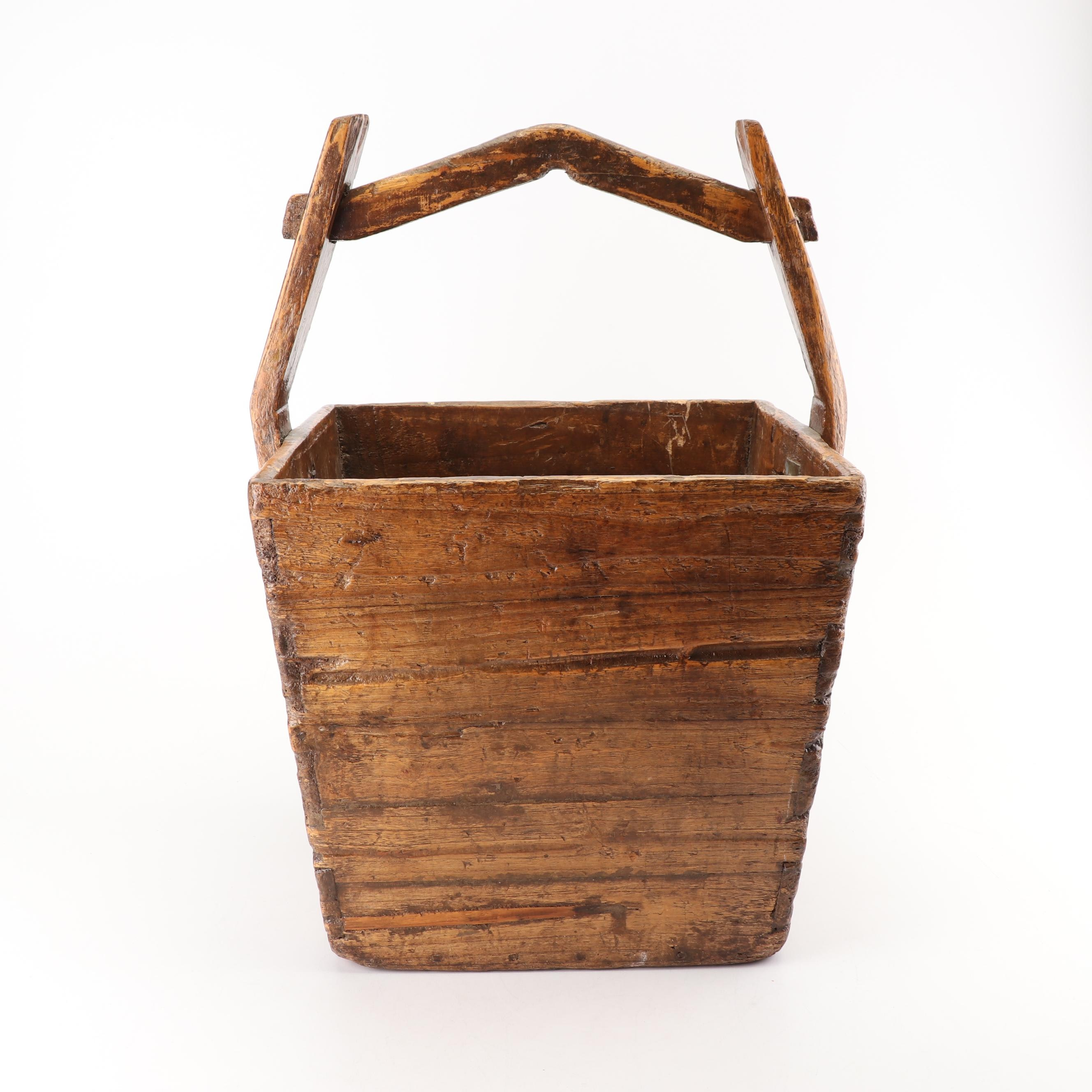 Hand Crafted Chinese Wooden Rice Bucket