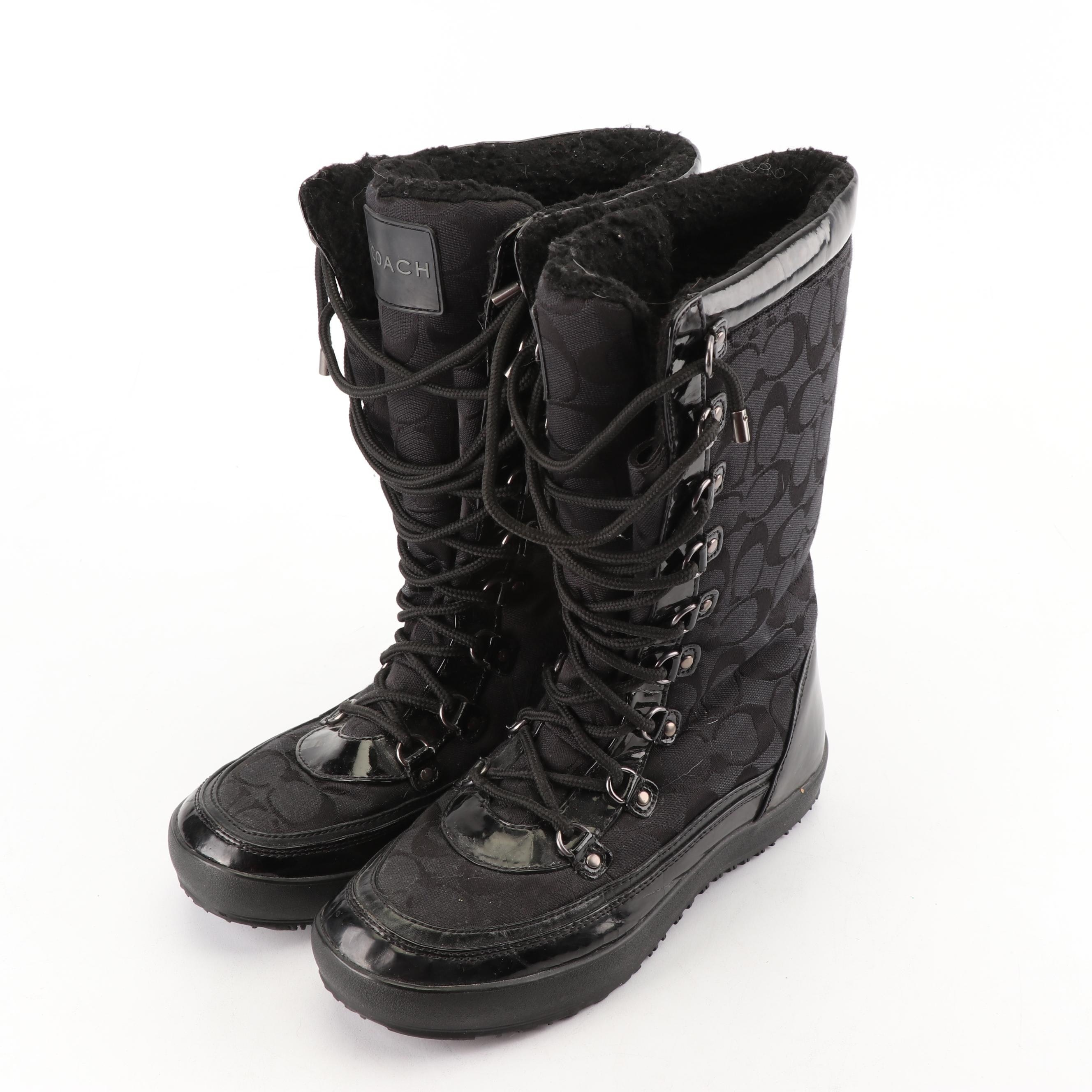 Women's Coach Signature Peggey Black Canvas and Patent Leather Snow Boots