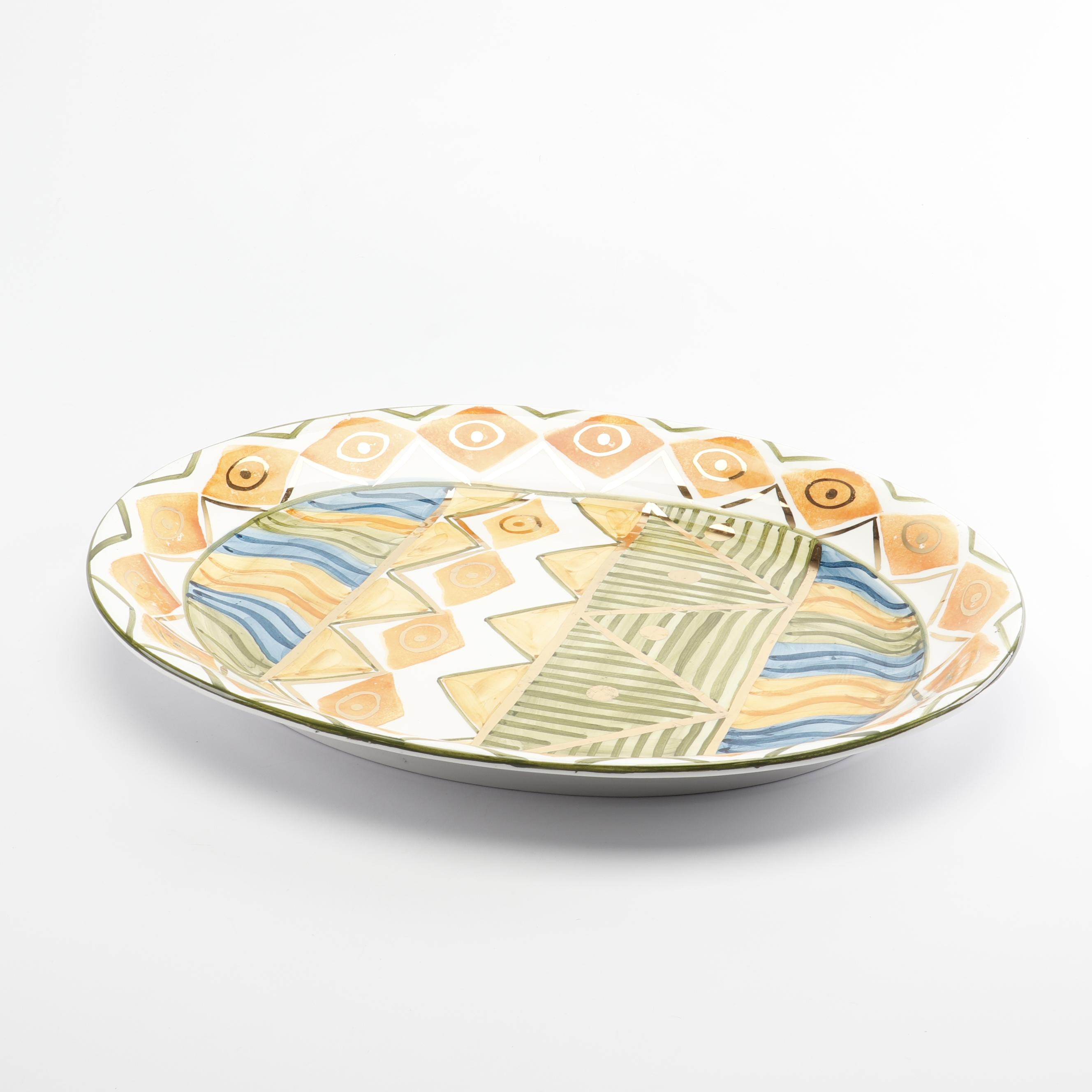 Bloomingdale's Main Course Hand-Painted Ceramic Serving Platter