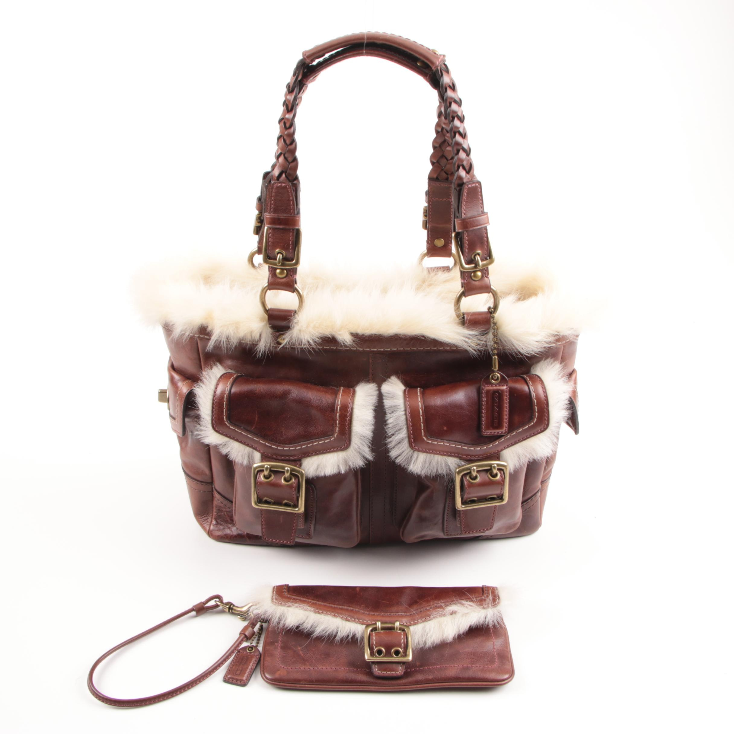 2005 Coach Brown Leather and Shearling Satchel with Matching Wristlet