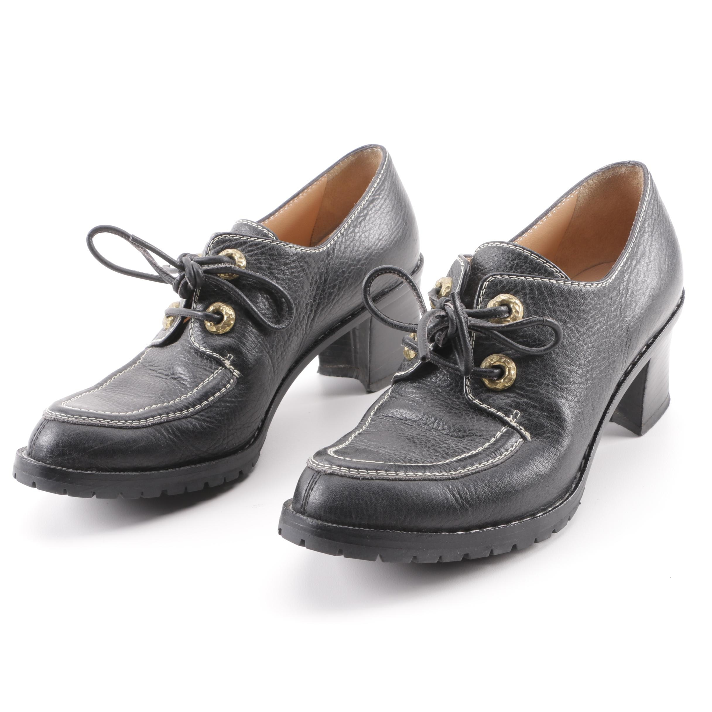 Women's Ombeline Paris Black Leather Heeled Oxfords