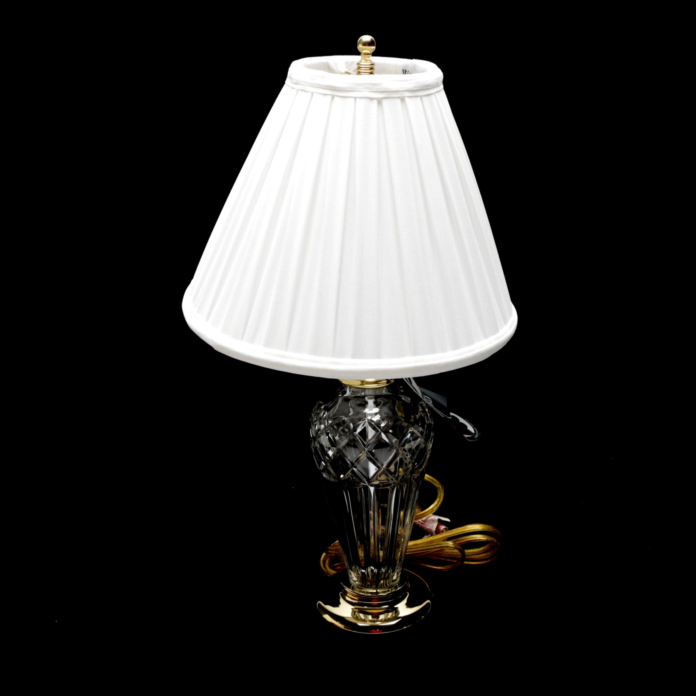 """Waterford Crystal """"Belline"""" Polished Brass and Crystal Lamp with White Shade"""