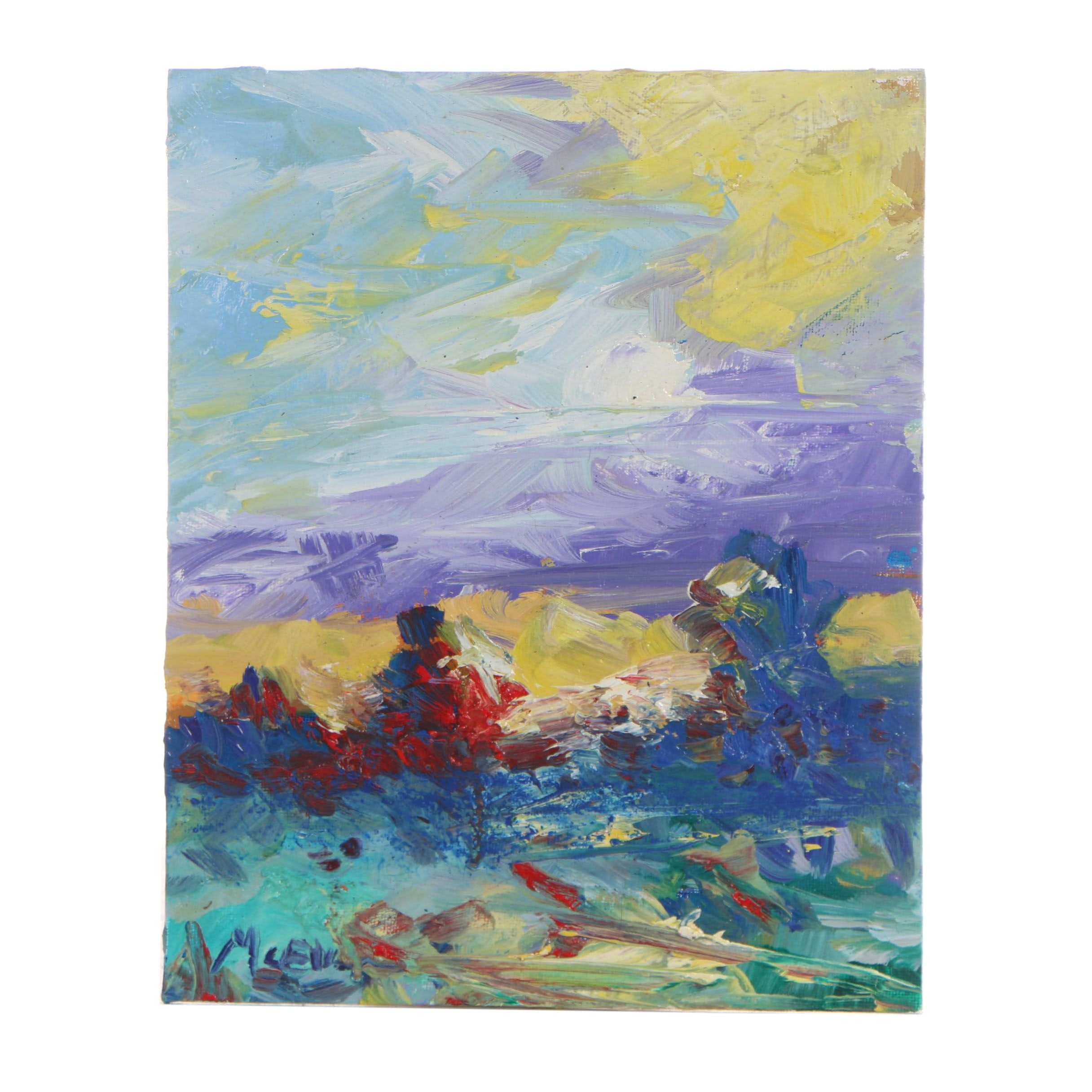 "Claire McElveen Abstract Oil Painting ""Bright Day"""