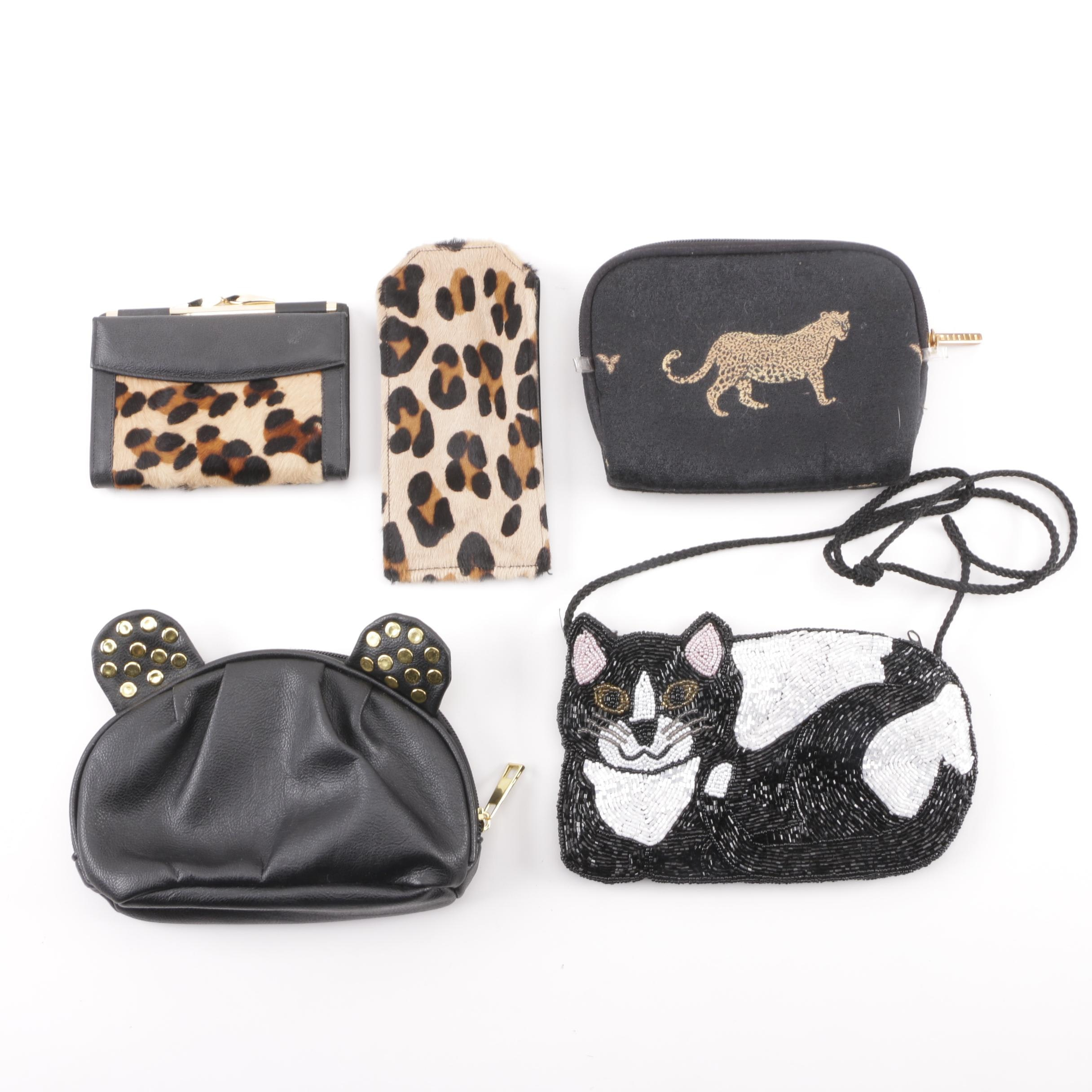 Animal Print and Cat Motif Handbags, Pouches and Wallet