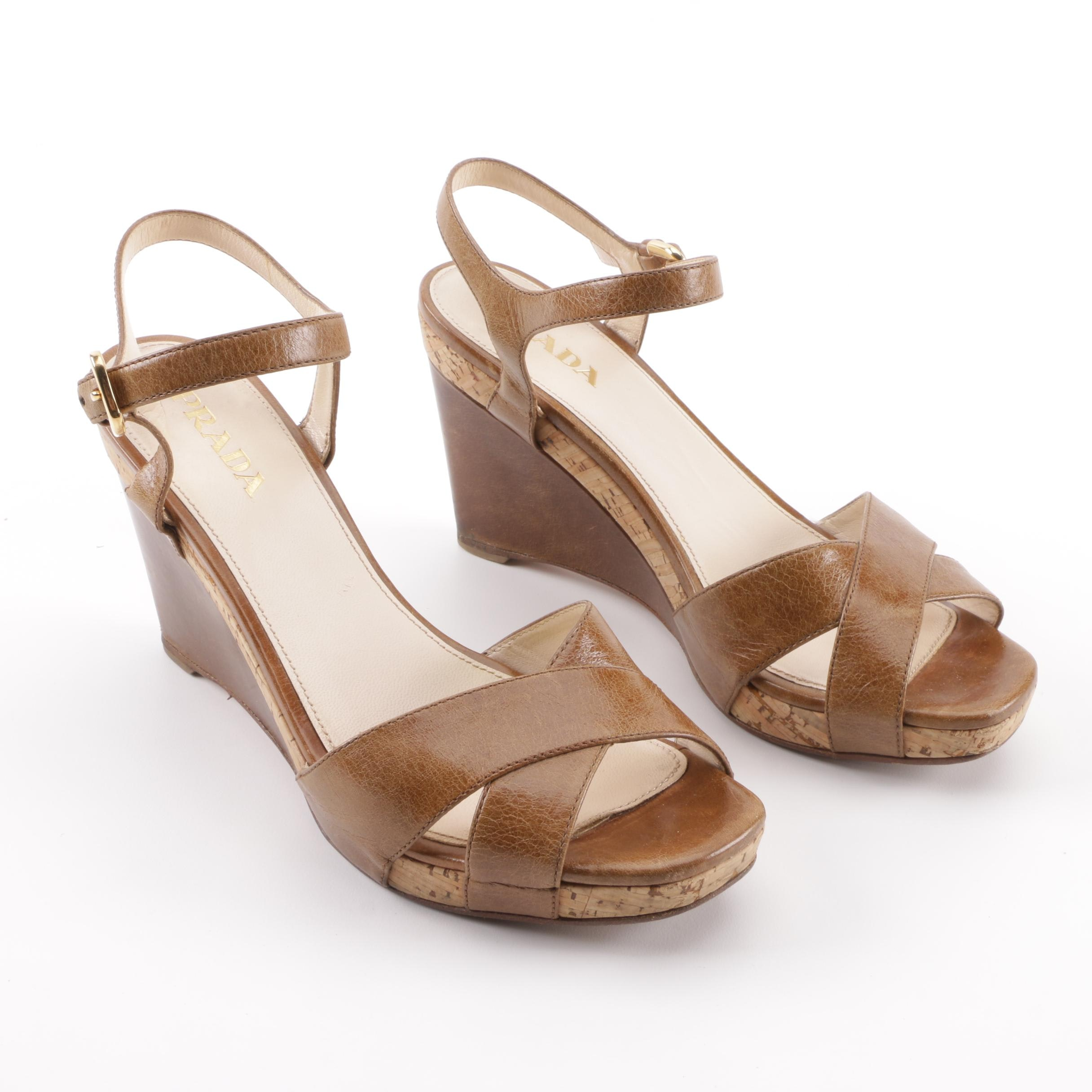 Prada Brown Leather and Cork Wedge Sandals