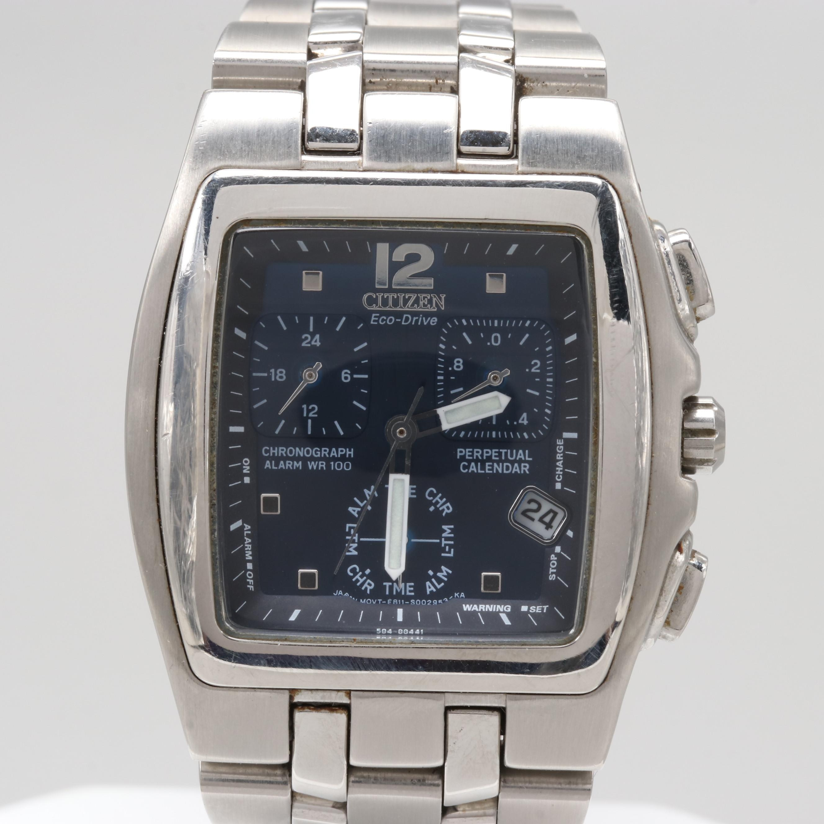 Citizen Eco-Drive Stainless Steel Wristwatch With Perpetual Calendar