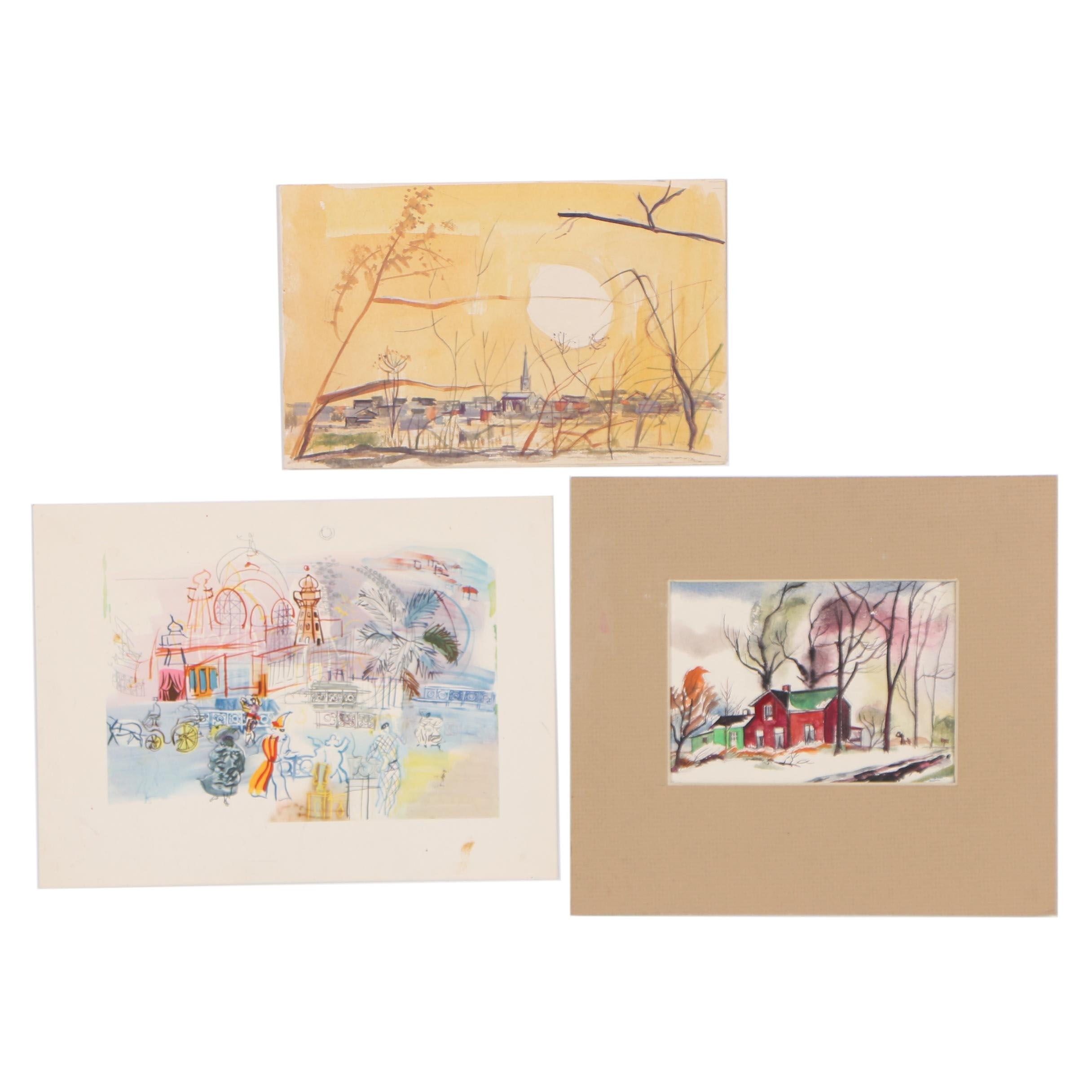 Cathal Brendan O'Toole Watercolor Paintings and Offset Lithograph