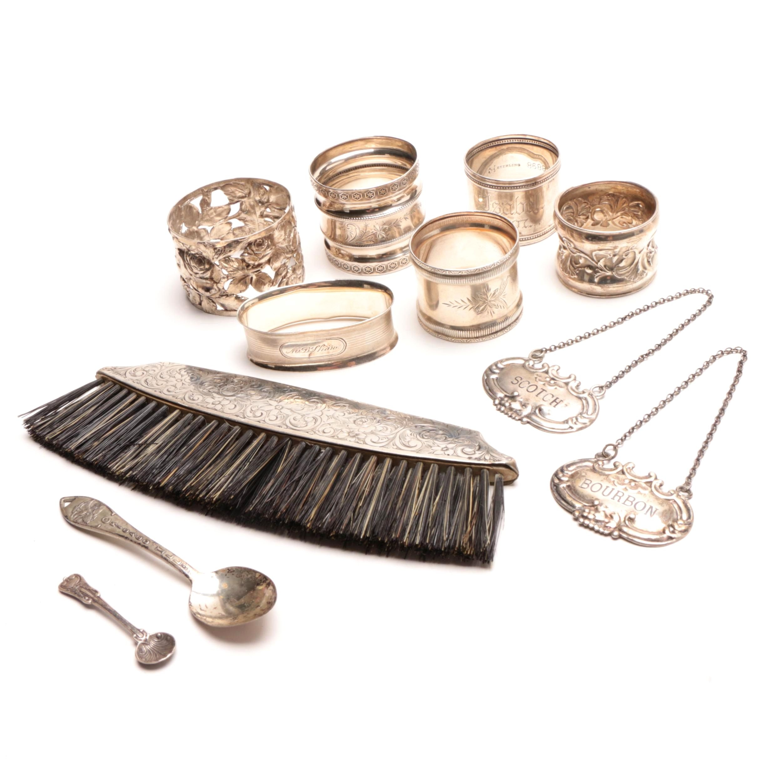 Sterling Silver Napkin Rings and Spoons including Towle, Gorham and Wallace