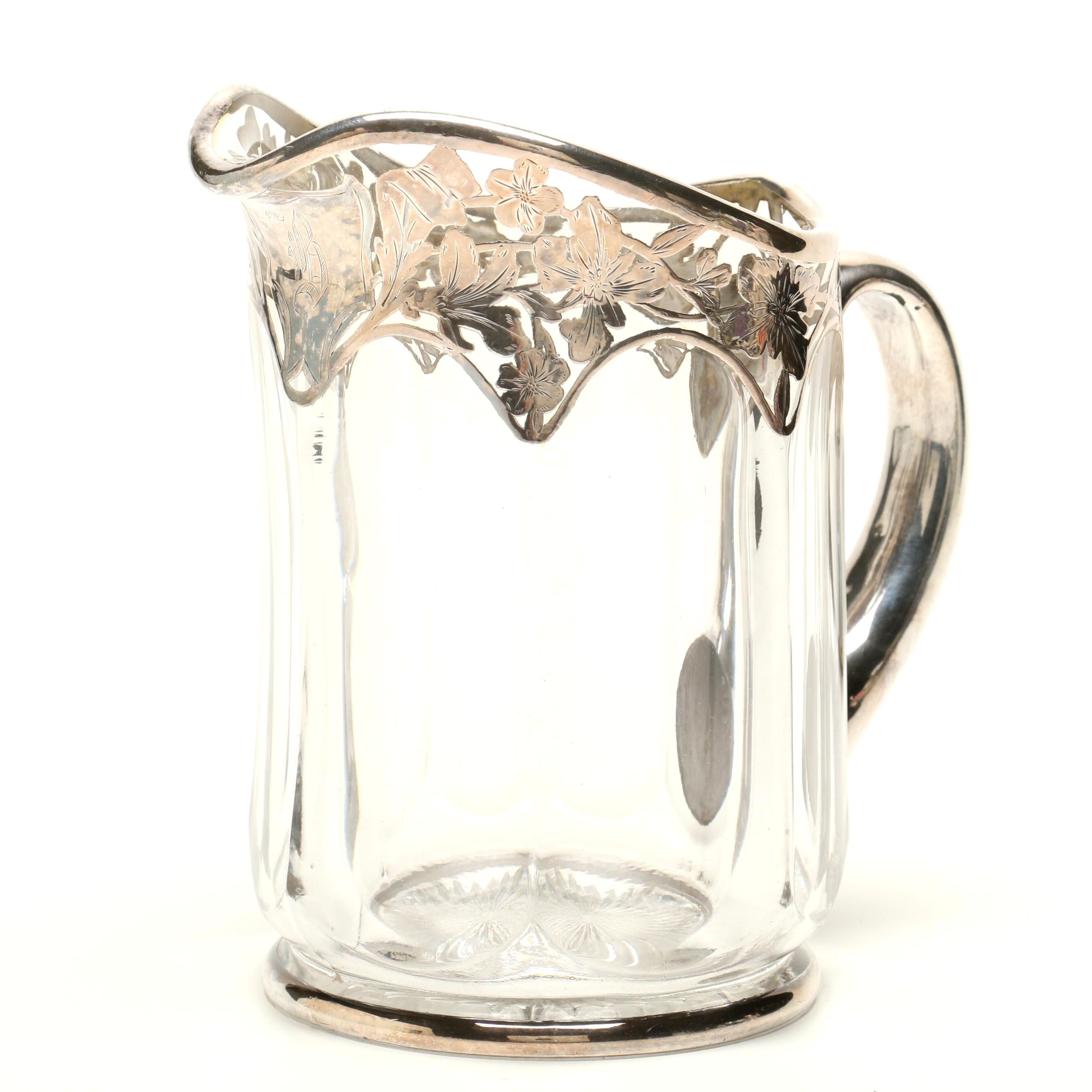 Sterling Silver Glass Overlay Pitcher