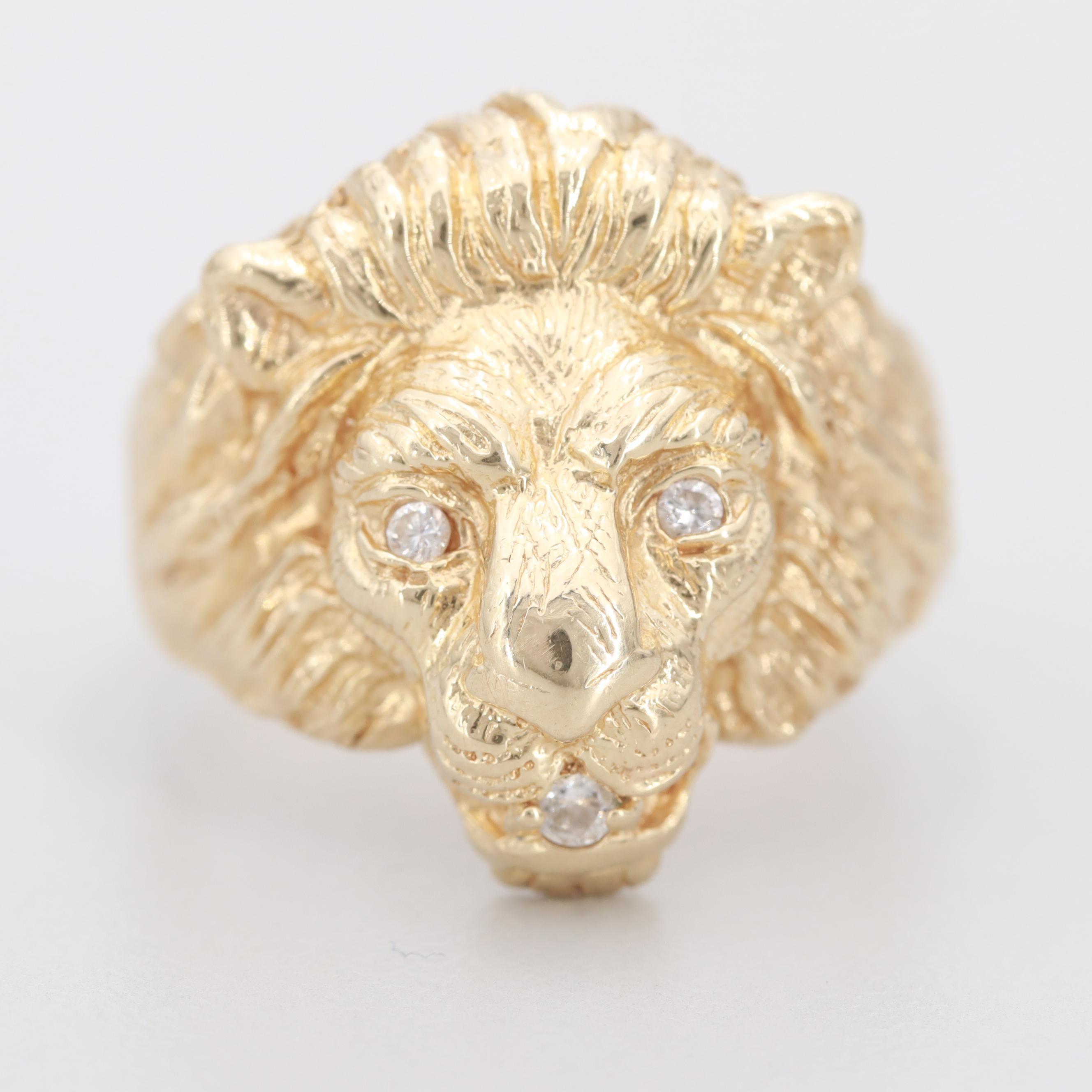 14K Yellow Gold Diamond Lion Ring