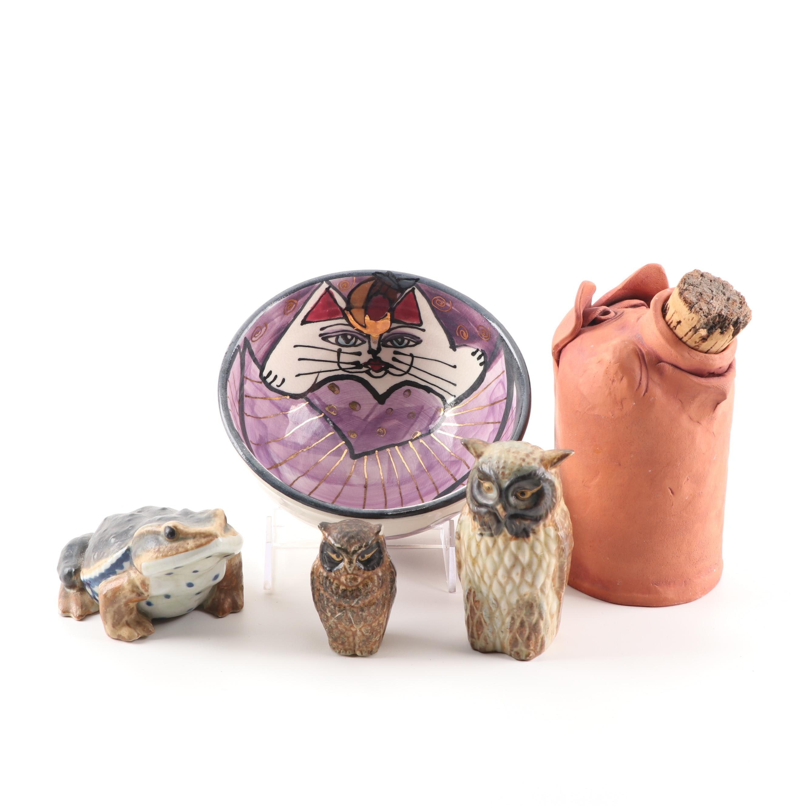 Art Pottery Bowl, Figurines, and Bottle