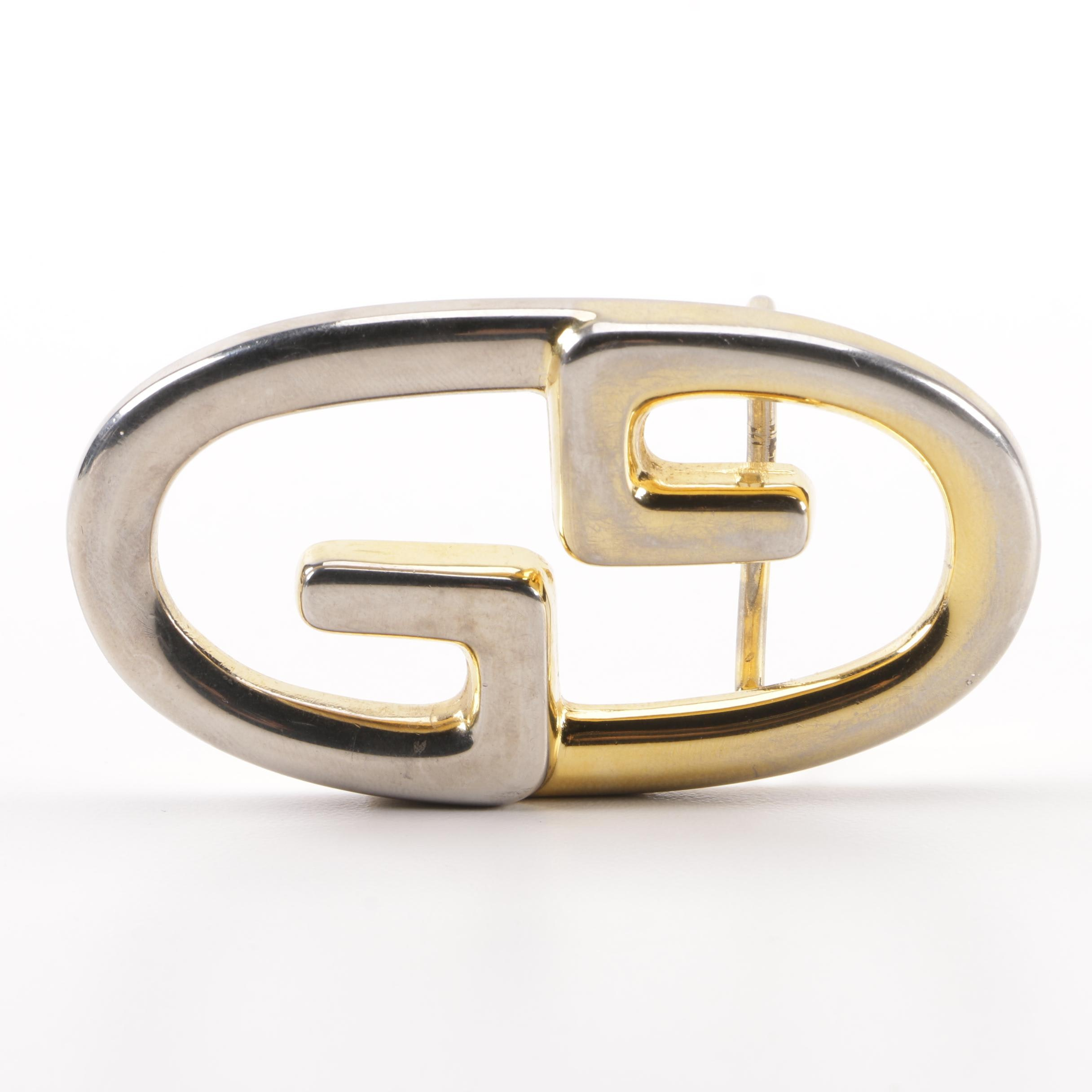 Vintage Gucci GG Two-Tone Metal Belt Buckle