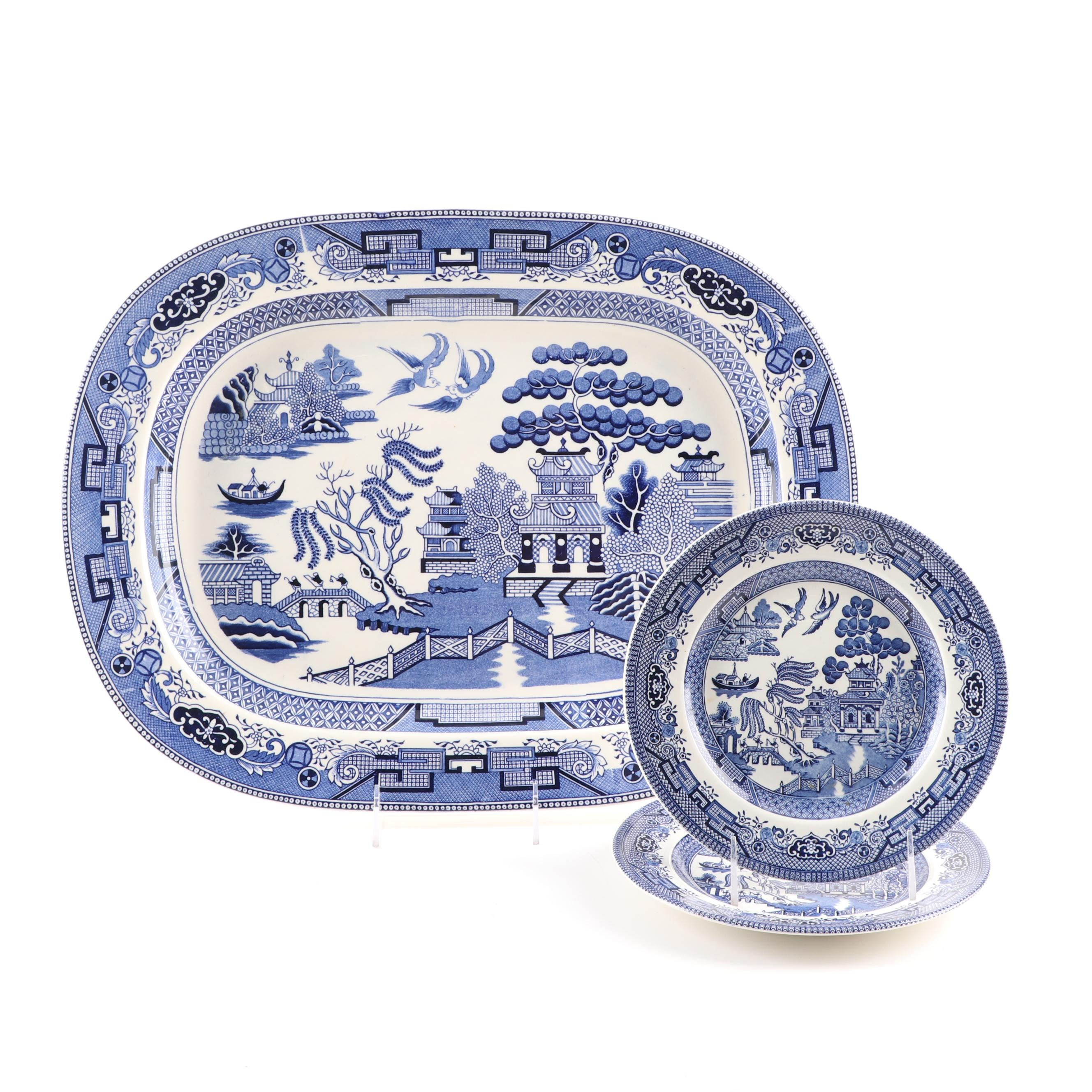 """""""Blue Willow"""" Ceramic Plates and Platter"""