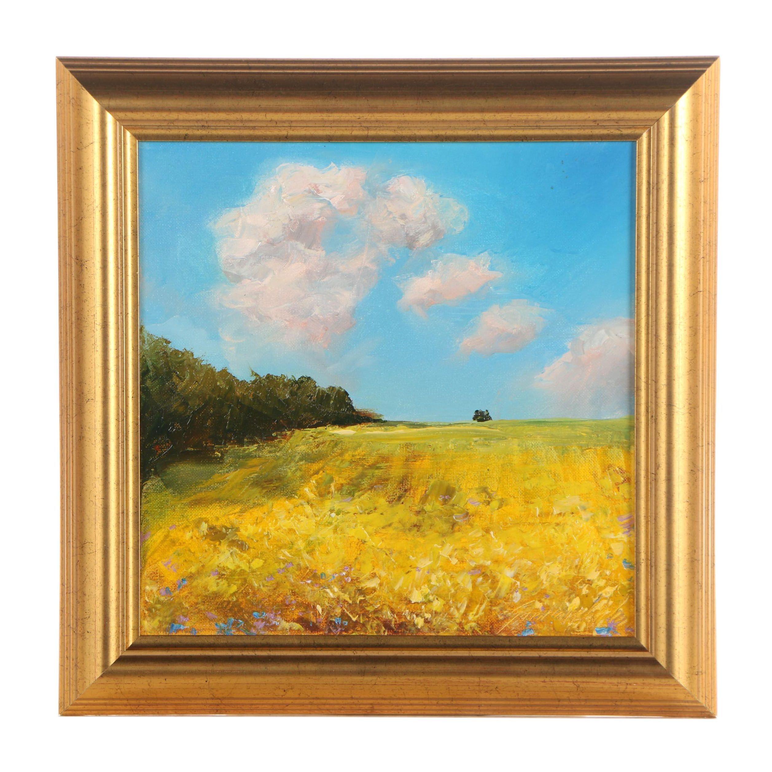 "Aleksander Garncarek Oil Painting "" Nad Polami"" (Over Fields)"