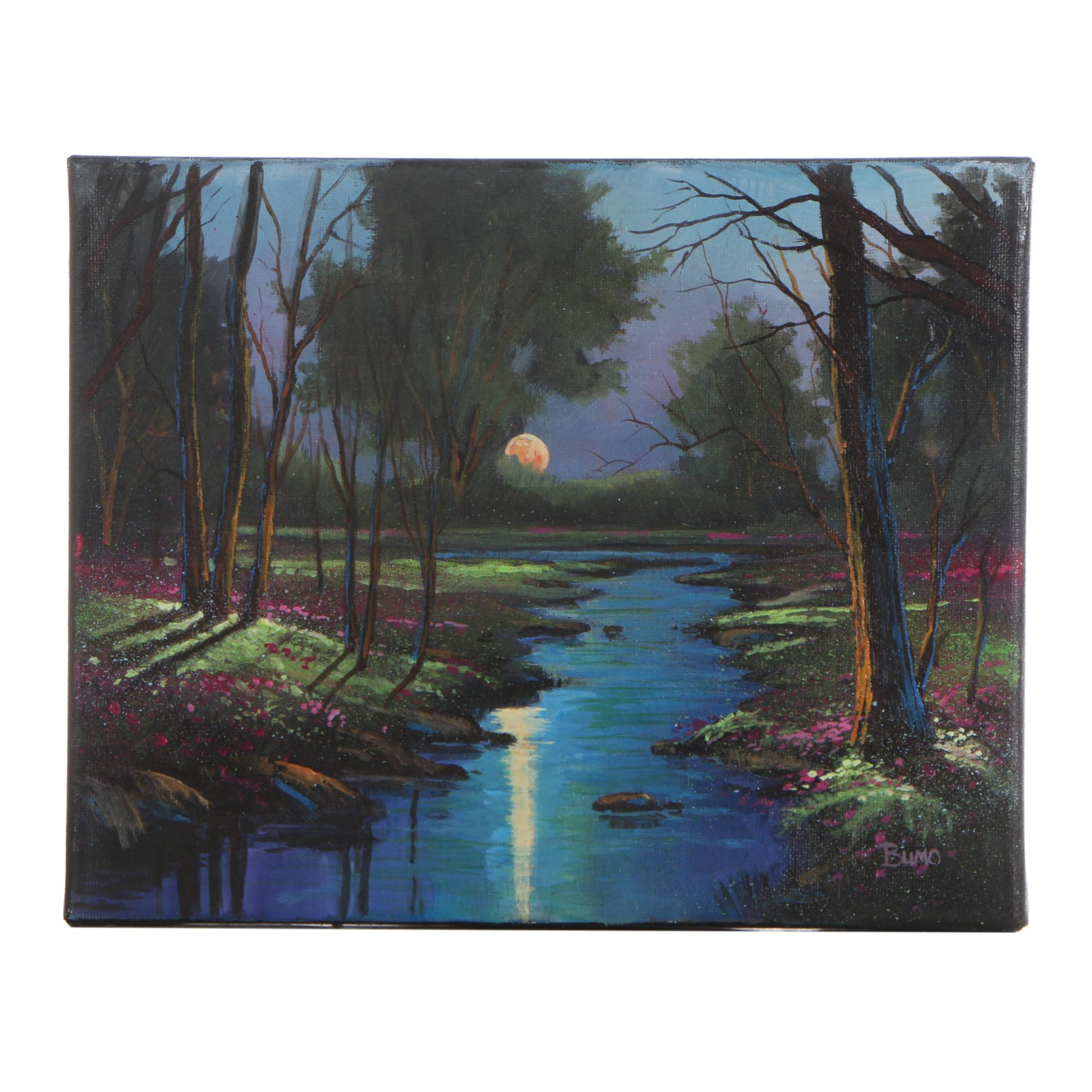 "Douglas ""Bumo"" Johnpeer Oil Painting ""Reflections of Dusk"""