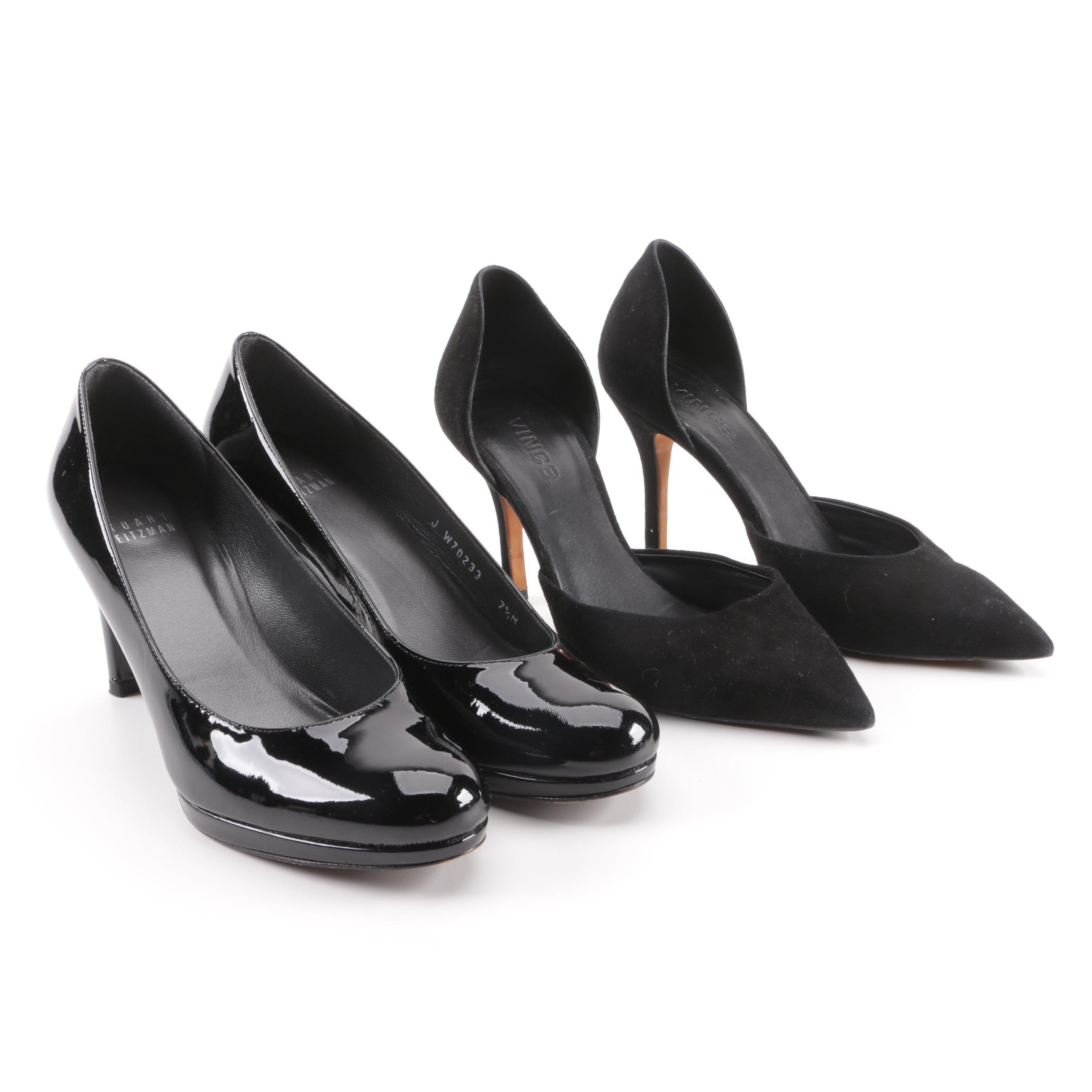Stuart Weitzman Black Patent Leather and Vince Black Suede d'Orsay Pumps