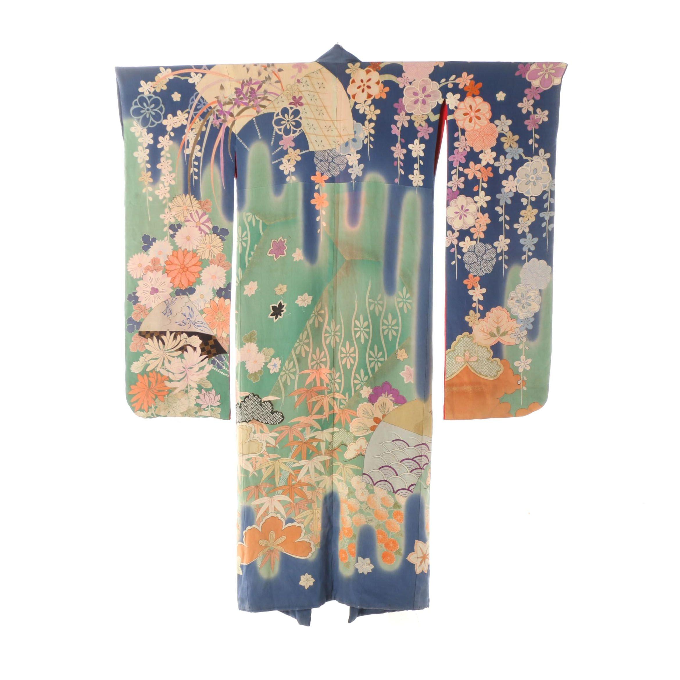 Circa 1915 G.T. Marsh & Co. Imported Japanese Handwoven Silk Furisode Kimono