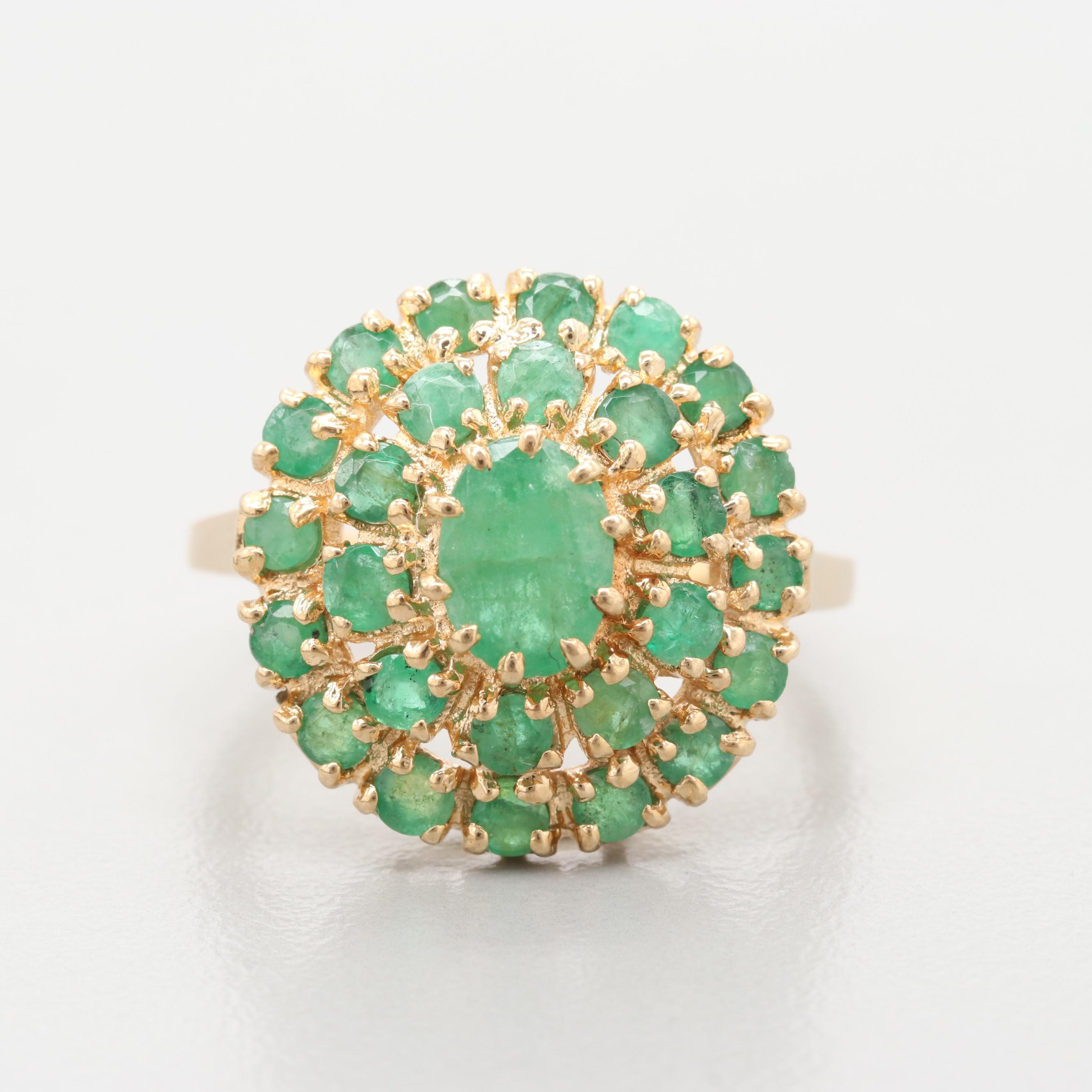 14K Yellow Gold Emerald Cocktail Ring