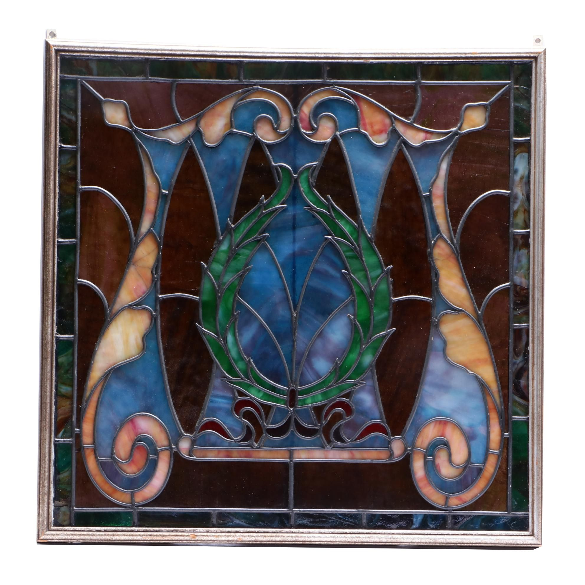 Handmade Leaded Stained Glass Panel in Wood Frame