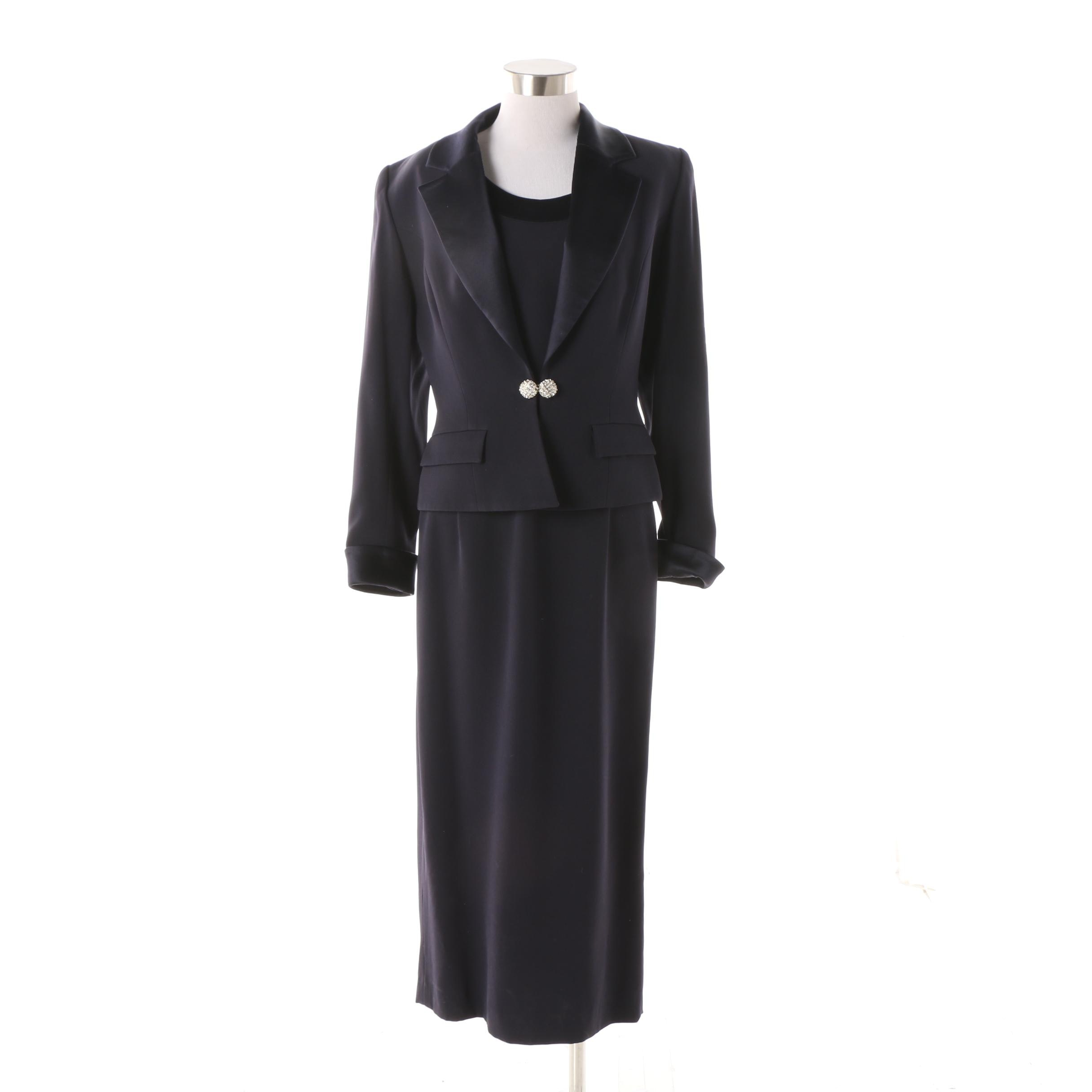 Sunny Choi Midnight Blue Dress Suit with Rhinestone Encrusted Buttons