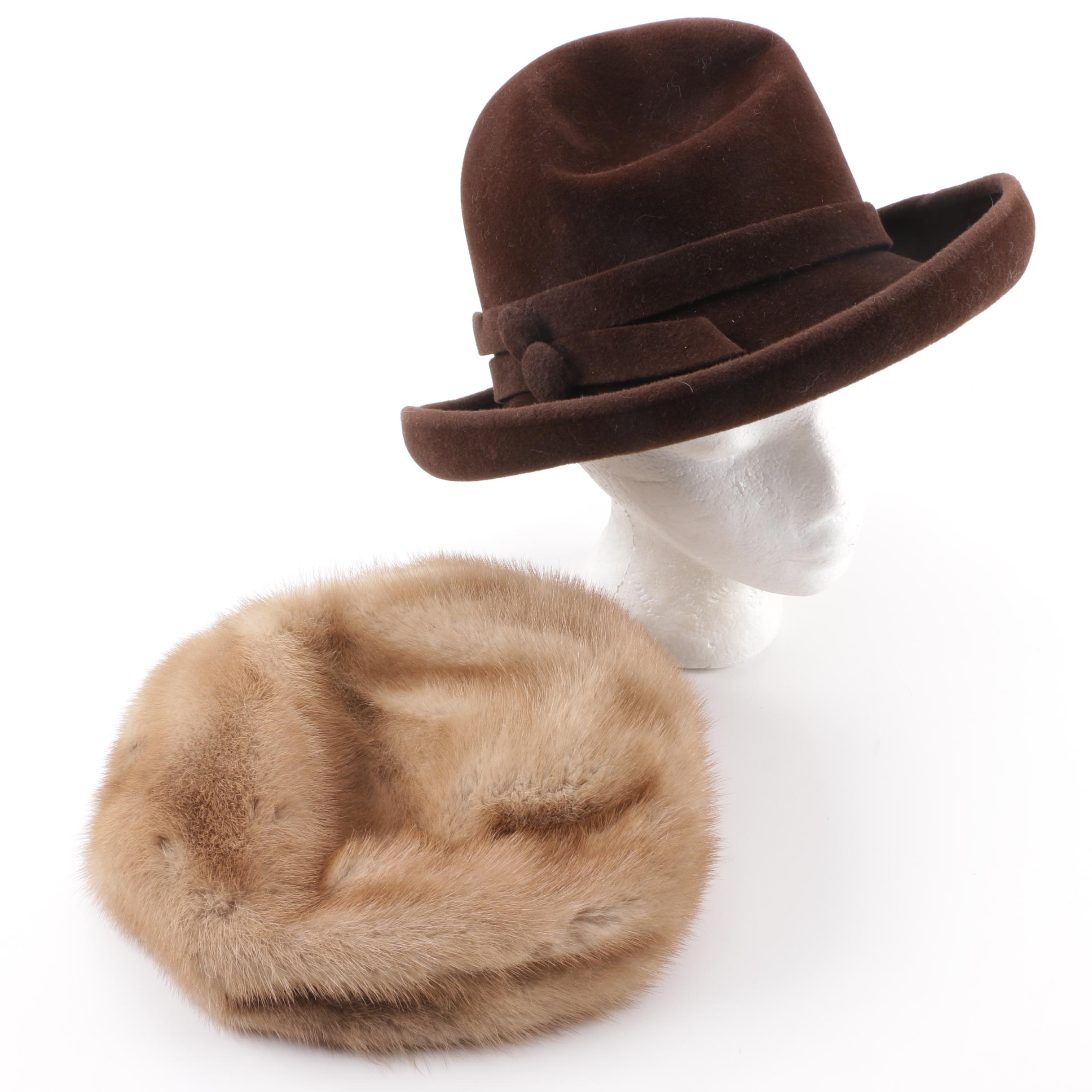 Italian Brown Fur Felt Breton Hat and Lenore Marshall New York Mink Fur Beret