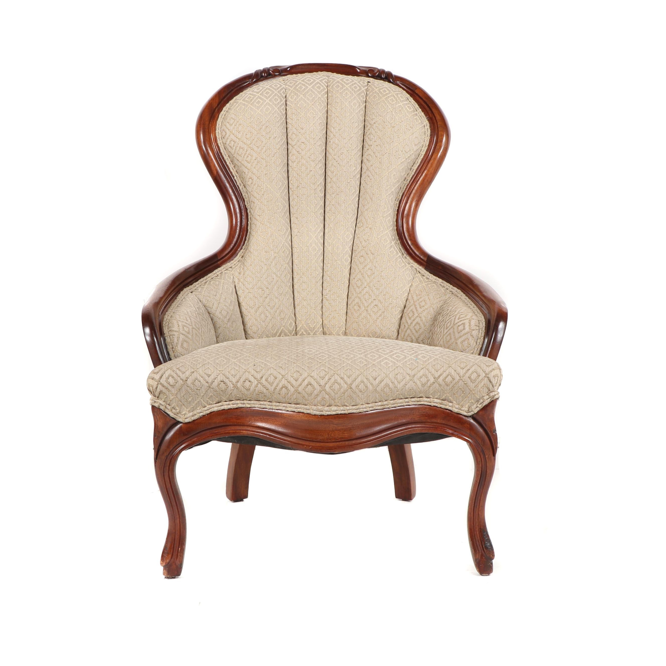 Victorian Style Mahogany Frame Upholstered Chair, 20th Century