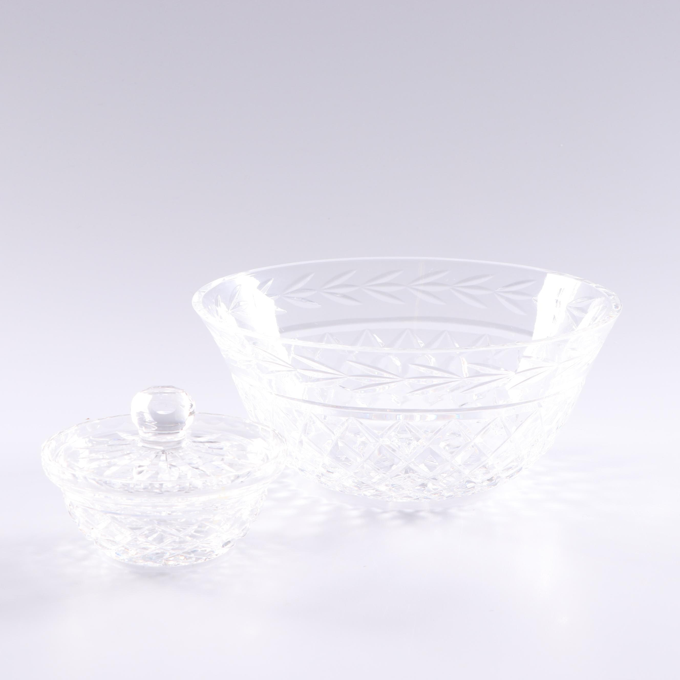 "Waterford Crystal ""Glandore"" Bowl and Lidded Condiment Bowl"