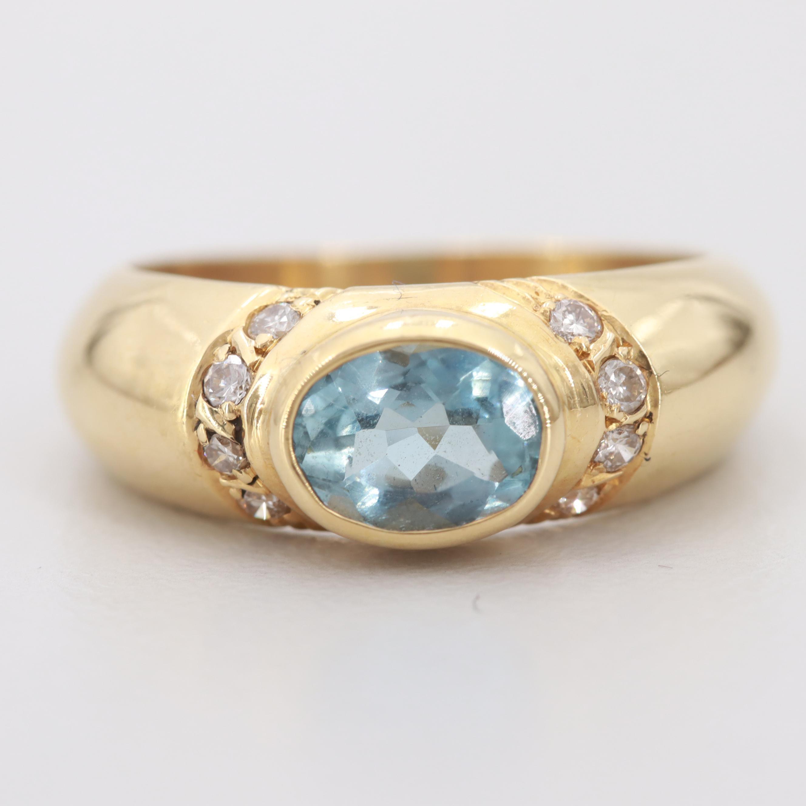 18K Yellow Gold Aquamarine and Diamond Ring