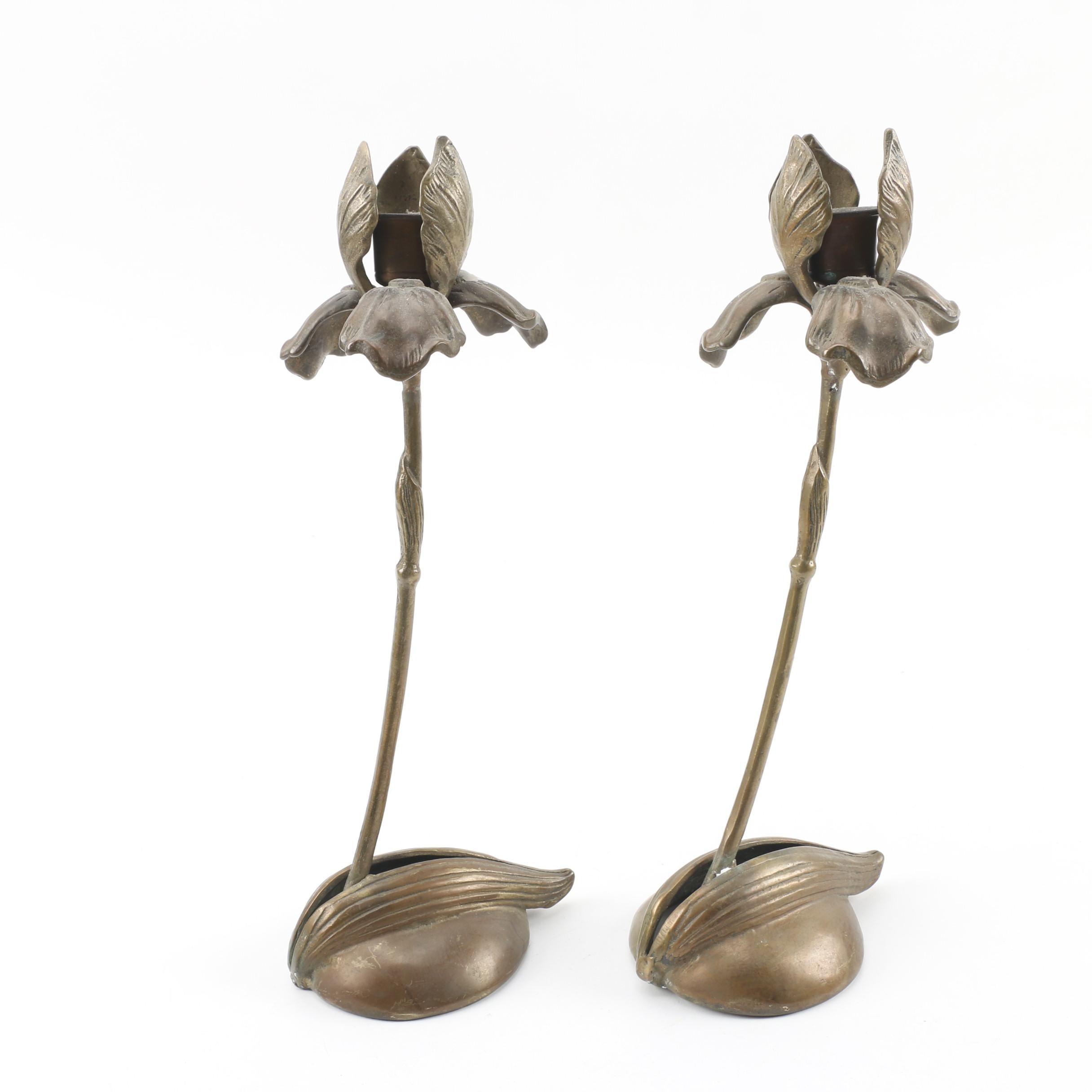 Silvestri Brass Iris Candlesticks