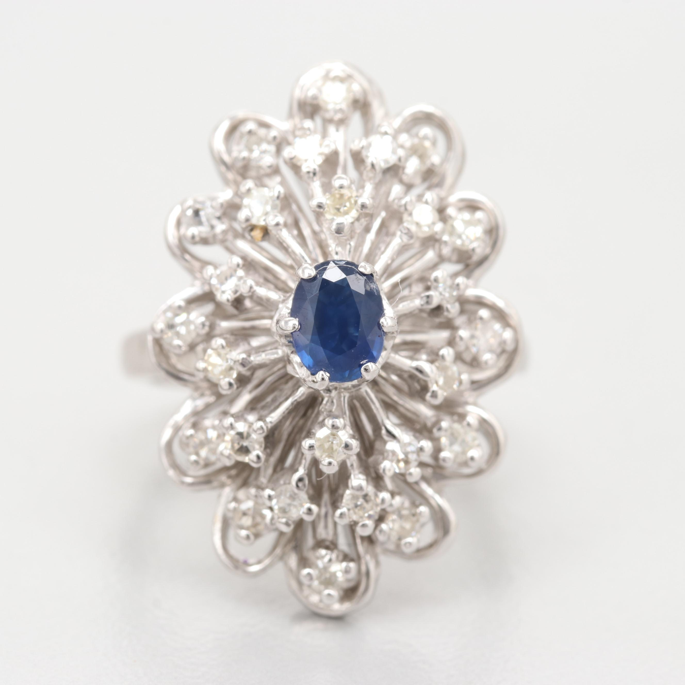 14K White Gold Blue Sapphire and Diamond Cocktail Ring
