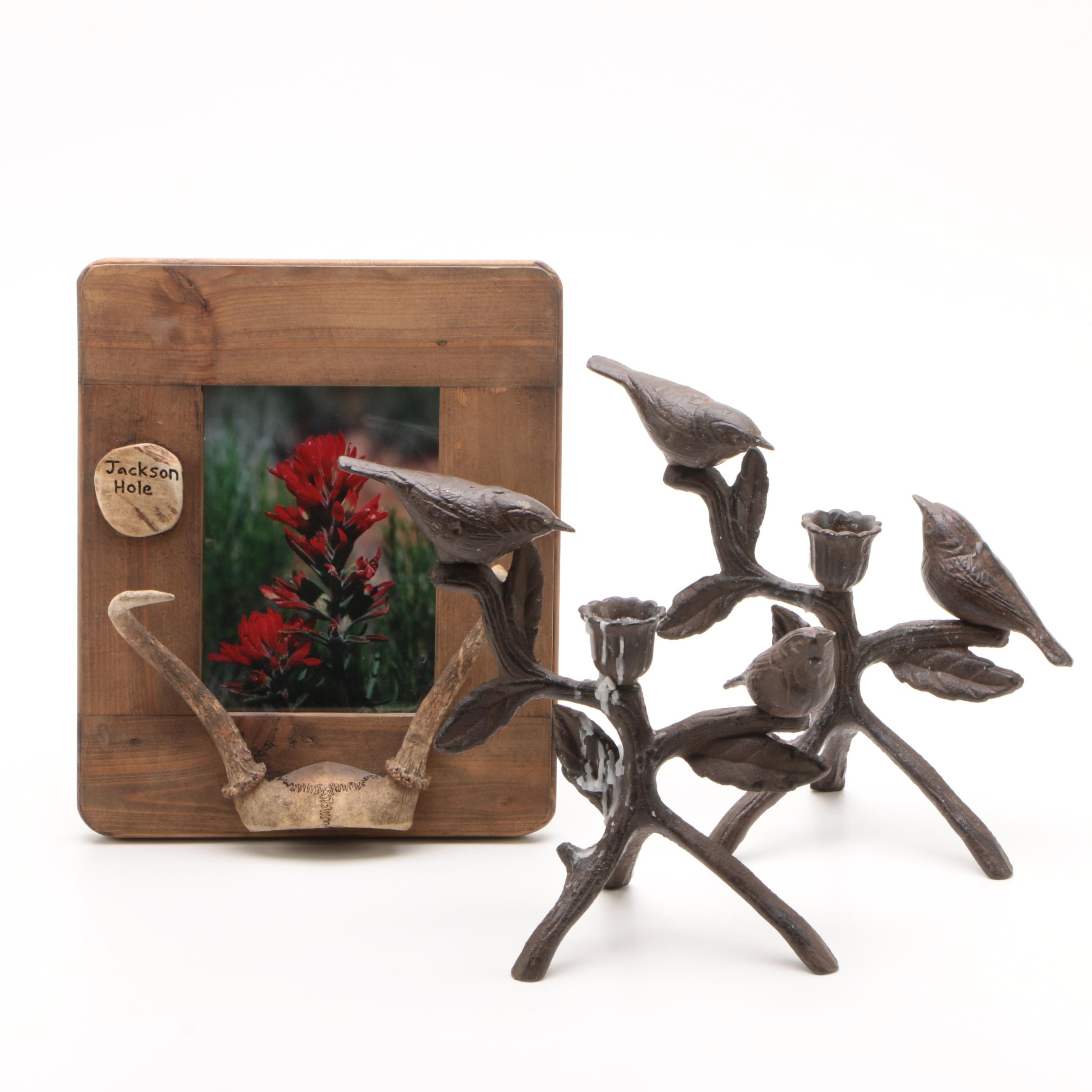 Cast Iron Bird Candlesticks and Jackson Hole Wooden Picture Frame