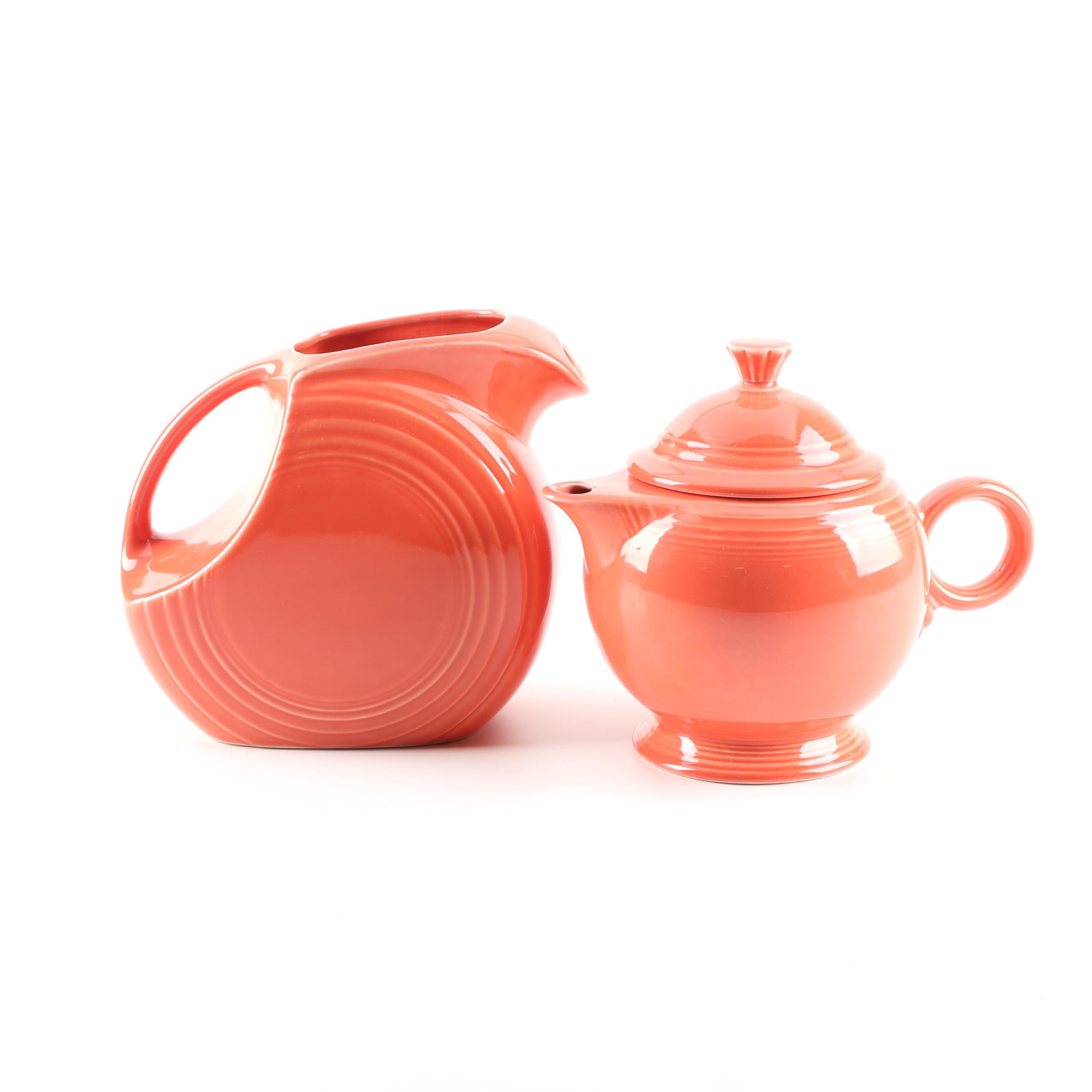 "Homer Laughlin Persimmon ""Fiesta"" Ceramic Disk Pitcher and Teapot"